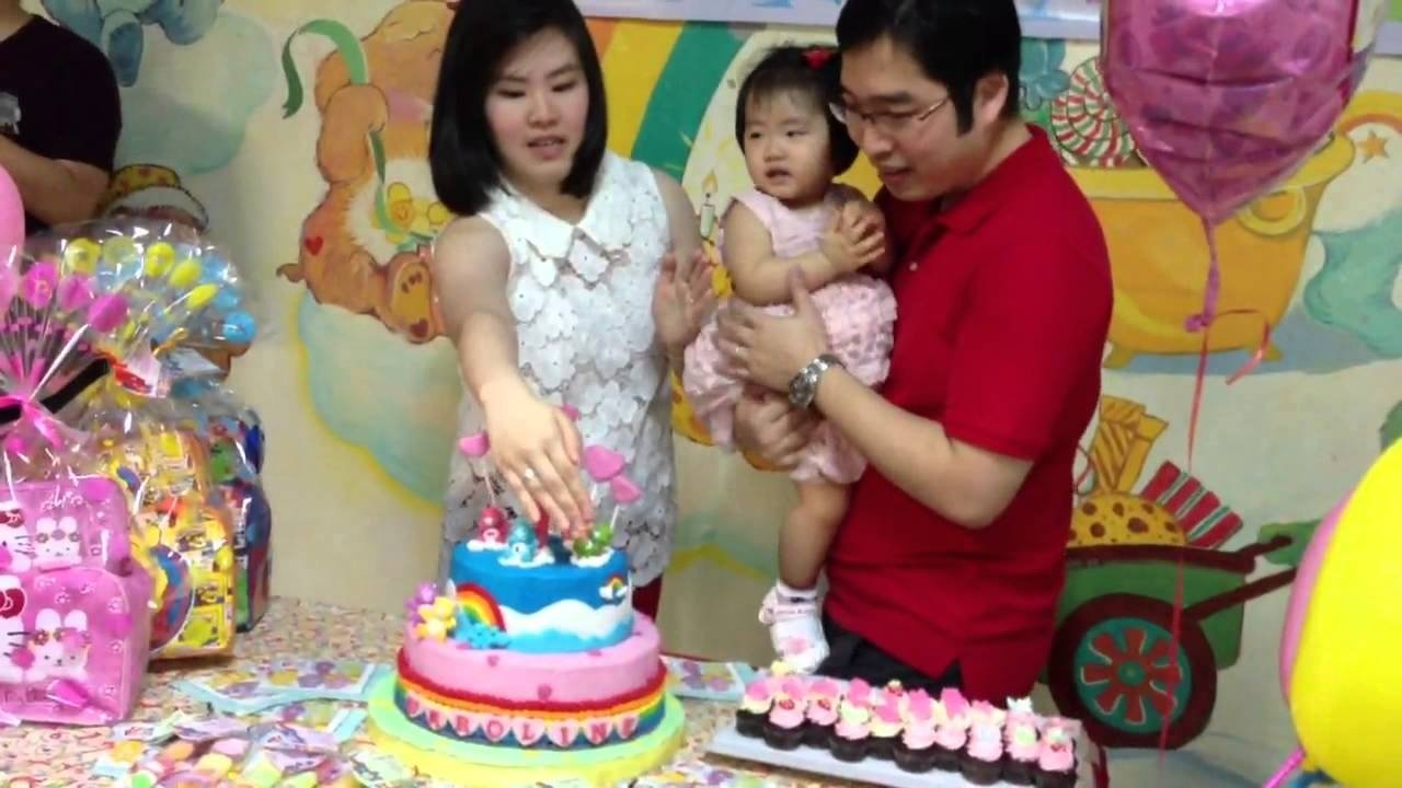 caroline 1 year old birthday party carebear theme - youtube