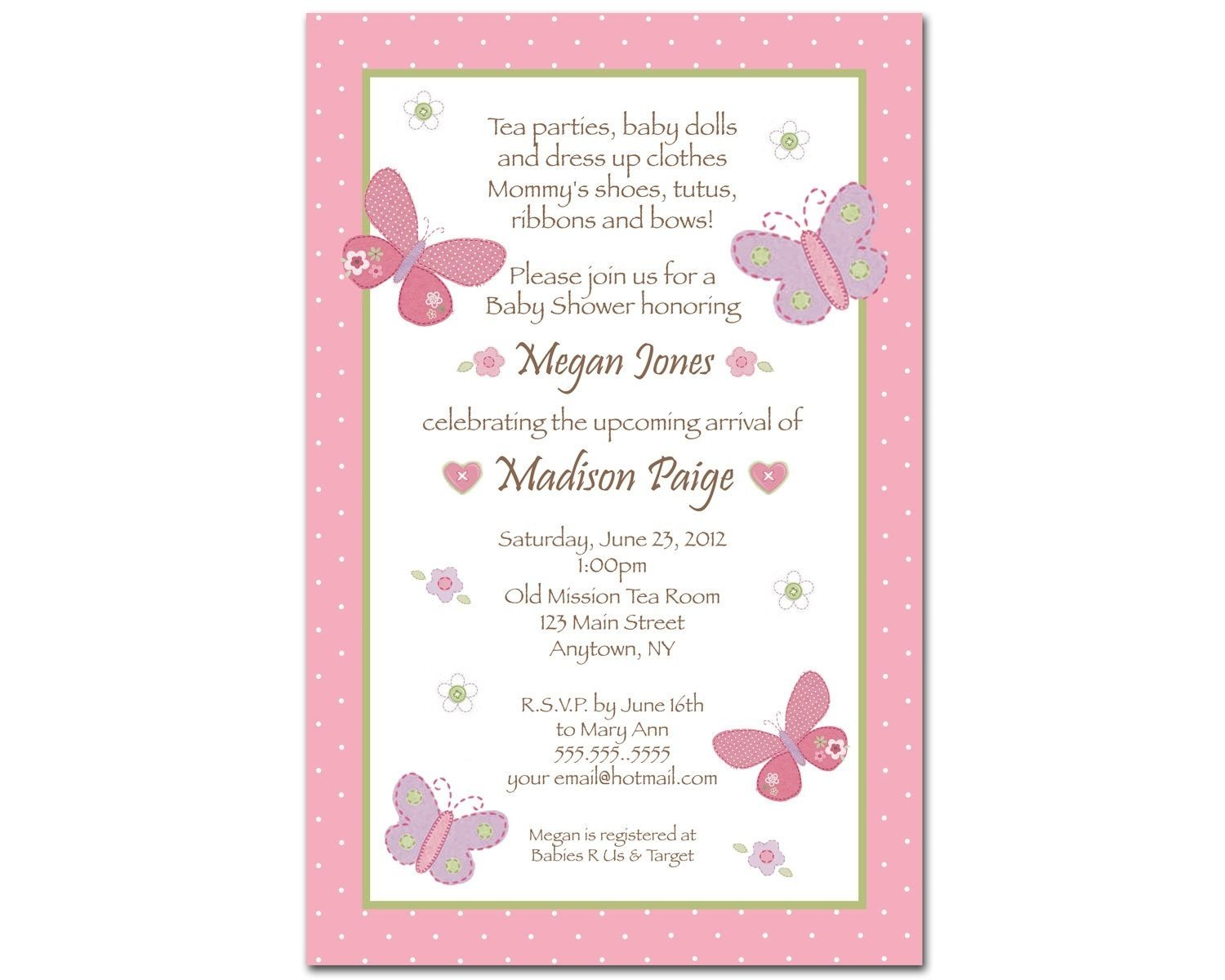 carter's baby girl baby shower invitations - butterfly & flowers
