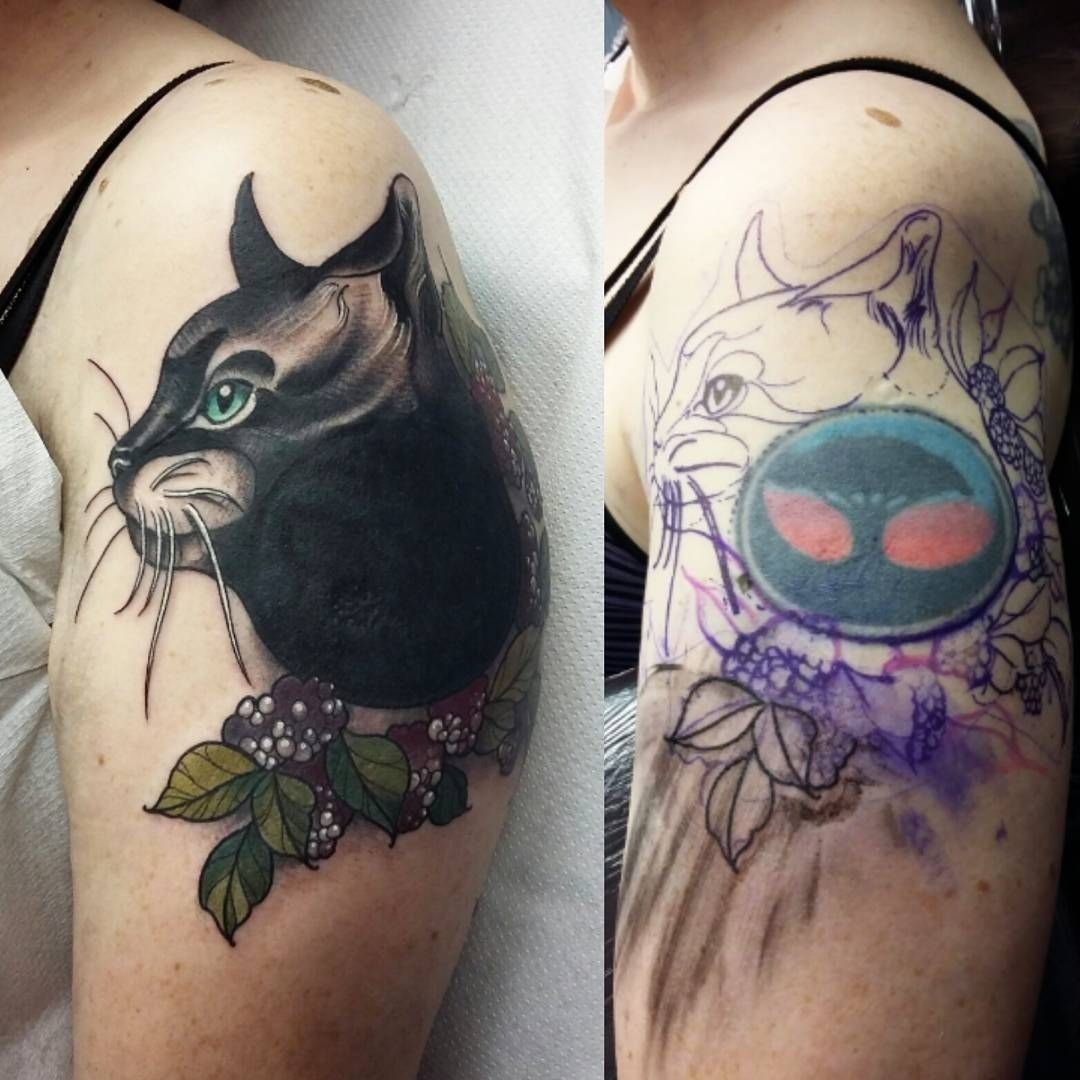 10 Unique Tattoo Cover Up Ideas For Work cat tattoo cover up back at at work after a long weekendsuch a 2020