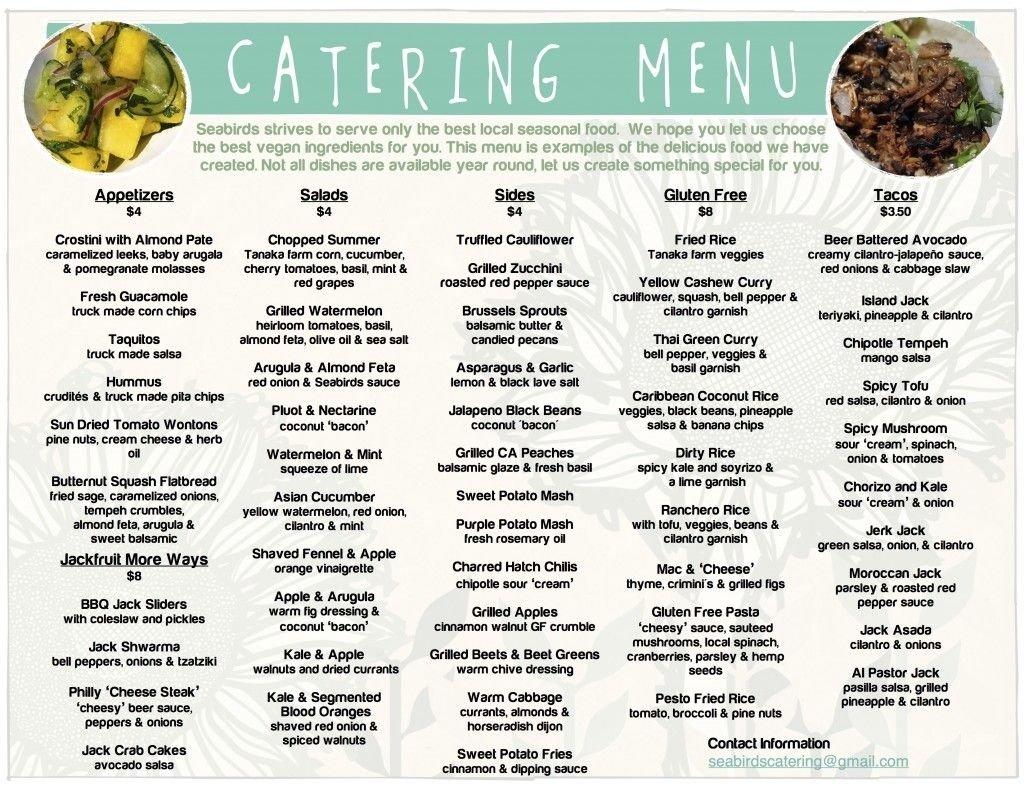 10 Cute Catering Menus And Prices Ideas catering menu seabirds truck wedding rustic barnyard