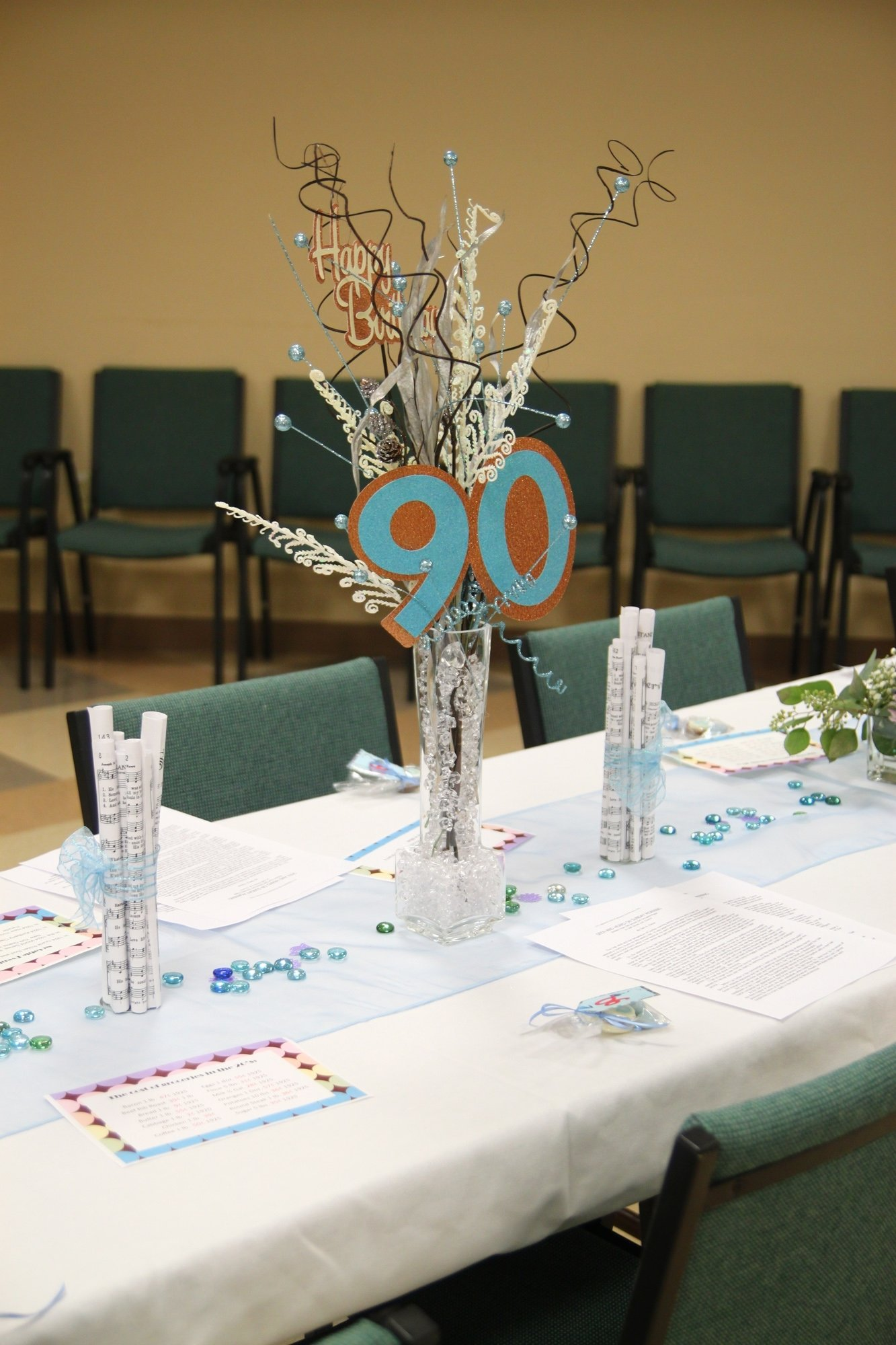 centerpieces for mom's 90th birthday | mom's 90th birthday