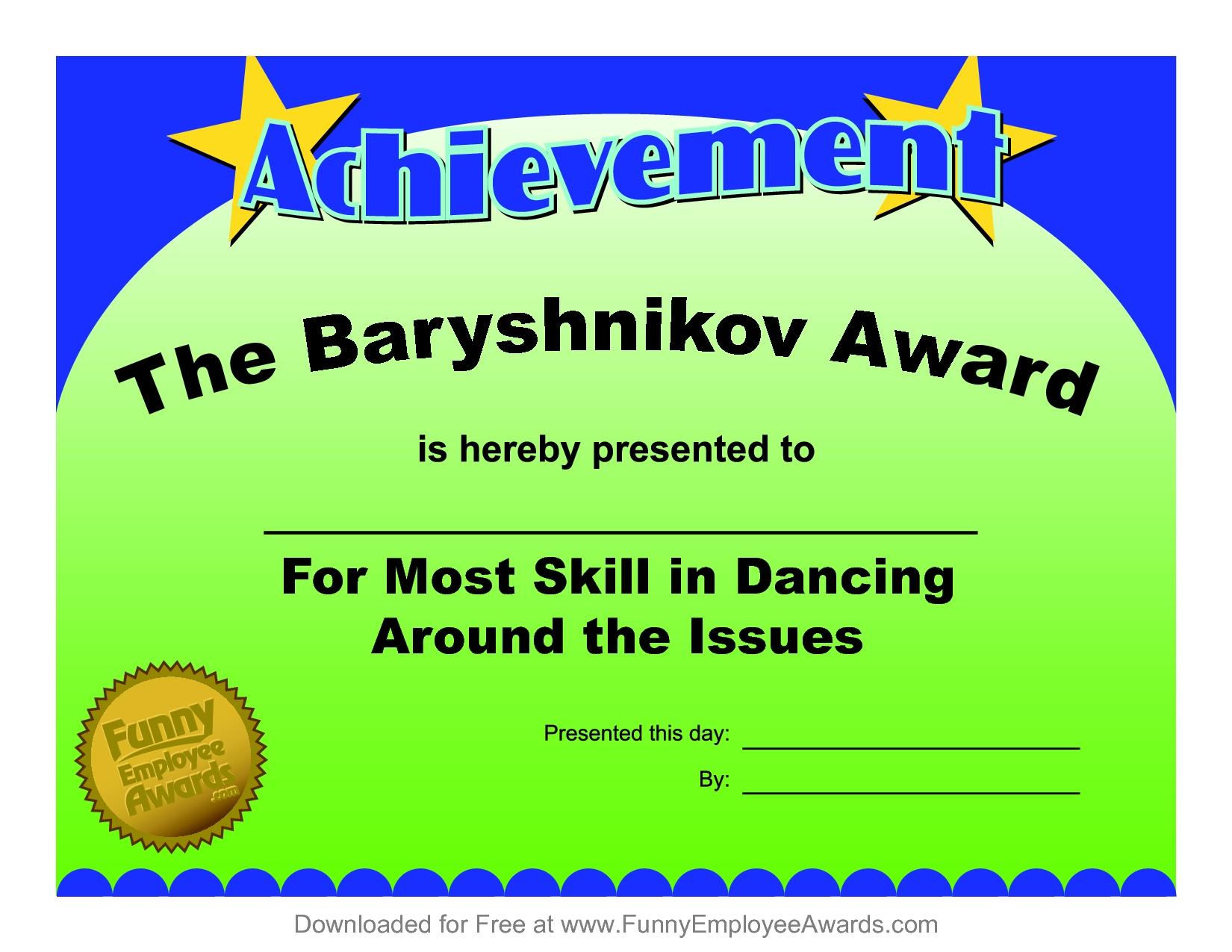 10 Perfect Funny Award Ideas For Employees certificates fun certificate from funny employee he bar yshnikov