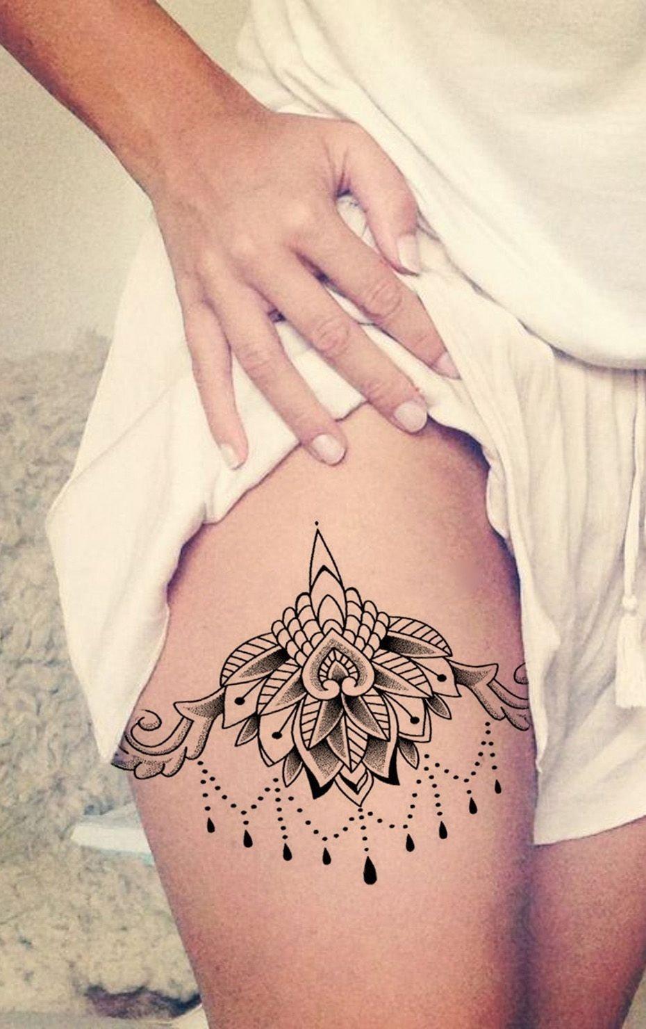 10 Fashionable Tattoo Placement Ideas For Women ceylon lace lotus chandelier temporary tattoo black henna hennas 2020