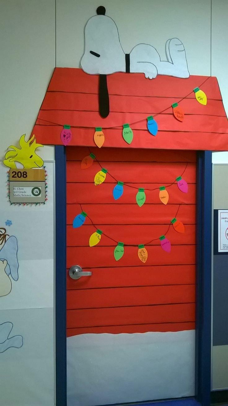 10 Wonderful Christmas Door Ideas For School charlie brown christmas classroom door decoration love that snoopy 2 2020