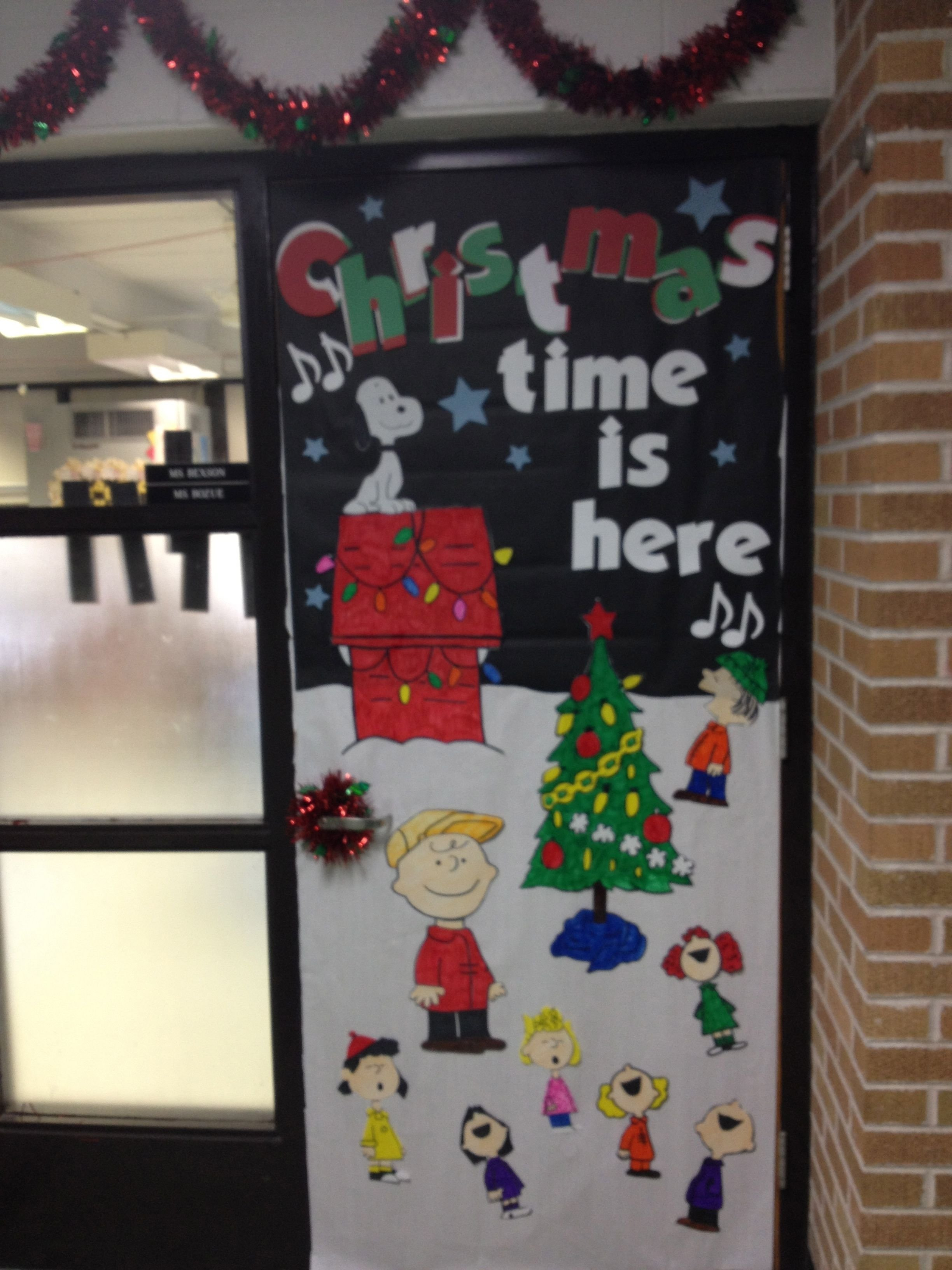 10 Perfect Christmas Classroom Door Decorating Ideas charlie brown christmas door took a while but i love it 1 2021
