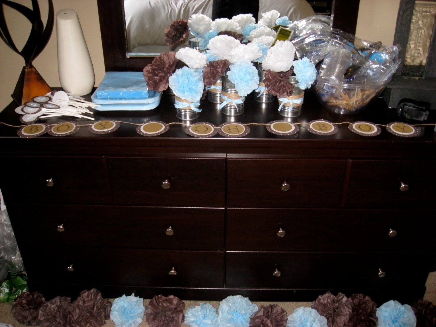 charming brown and baby blue baby shower decorations #6 perfect