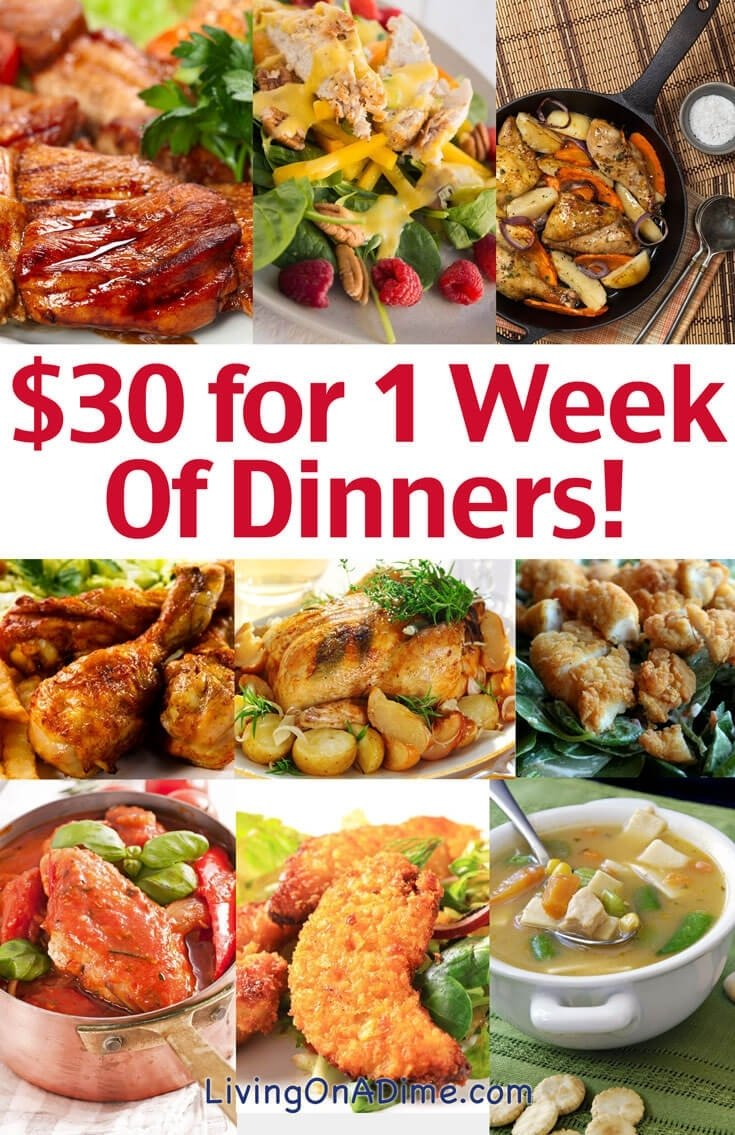 cheap family dinner ideas - $30 for 1 week of dinners! - living on a