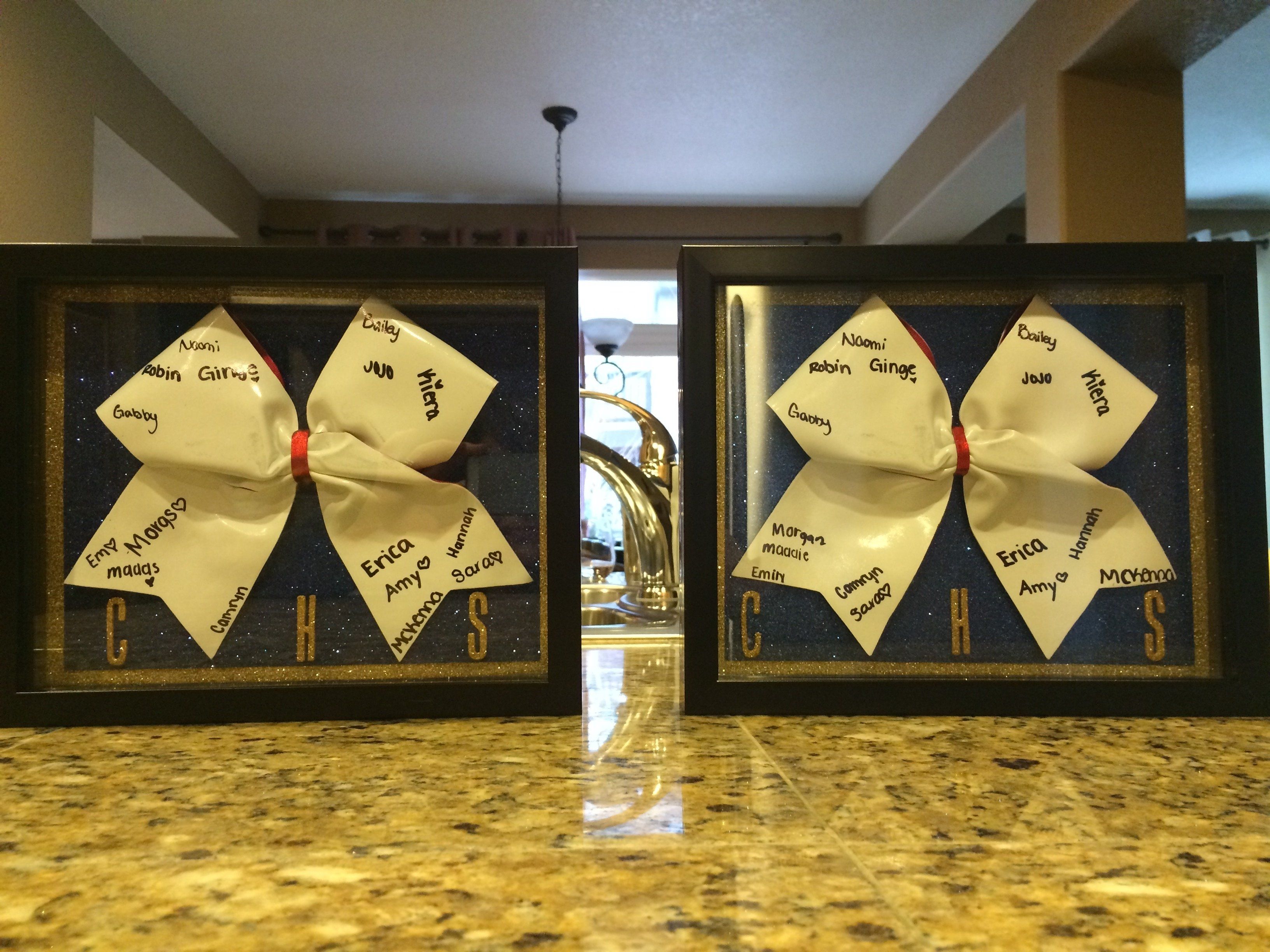 10 Spectacular Senior Gift Ideas For Sports cheer banquet gifts for seniors shadow boxes with autograph bows 2020