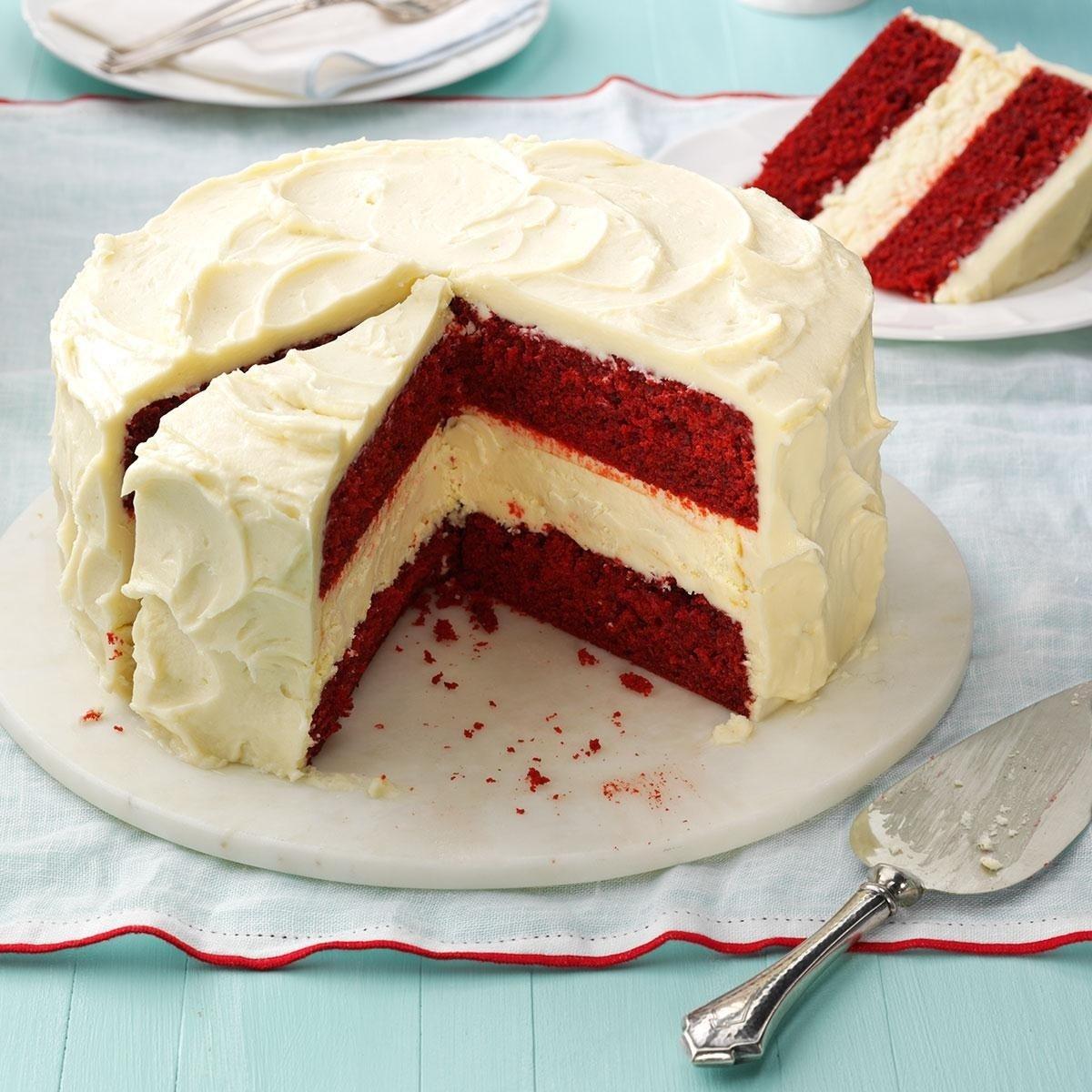 10 Famous Red Velvet Cake Filling Ideas cheesecake layered red velvet cake recipe taste of home 2020