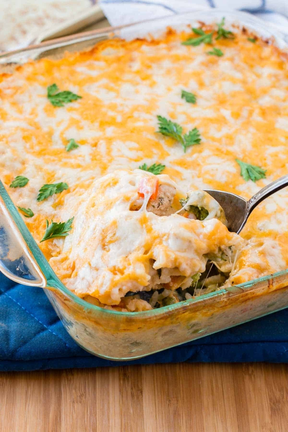10 Pretty Quick And Simple Dinner Ideas cheesy chicken and rice casserole oh sweet basil 3 2020