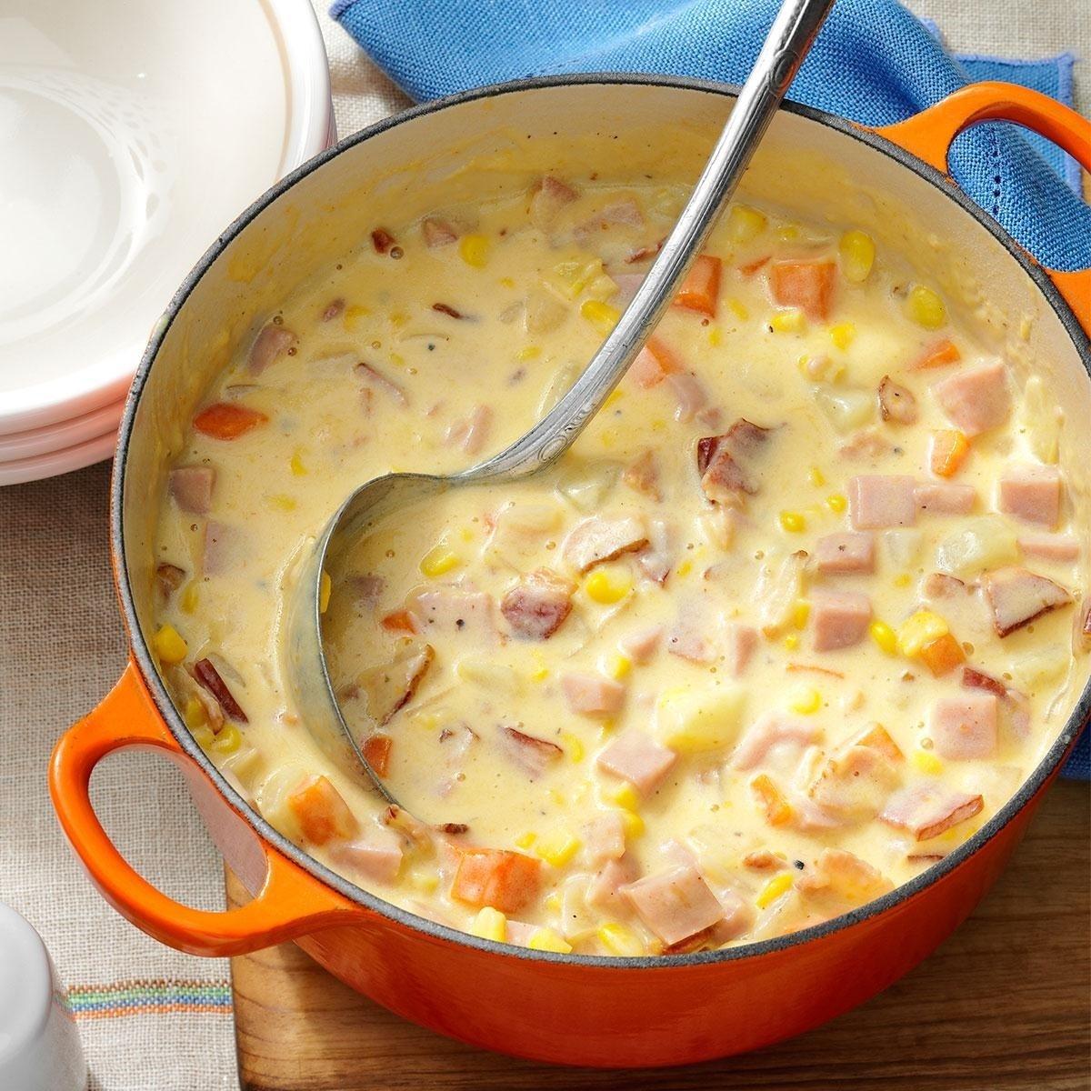 10 Awesome Christmas Ham Dinner Menu Ideas cheesy ham chowder recipe taste of home 2021