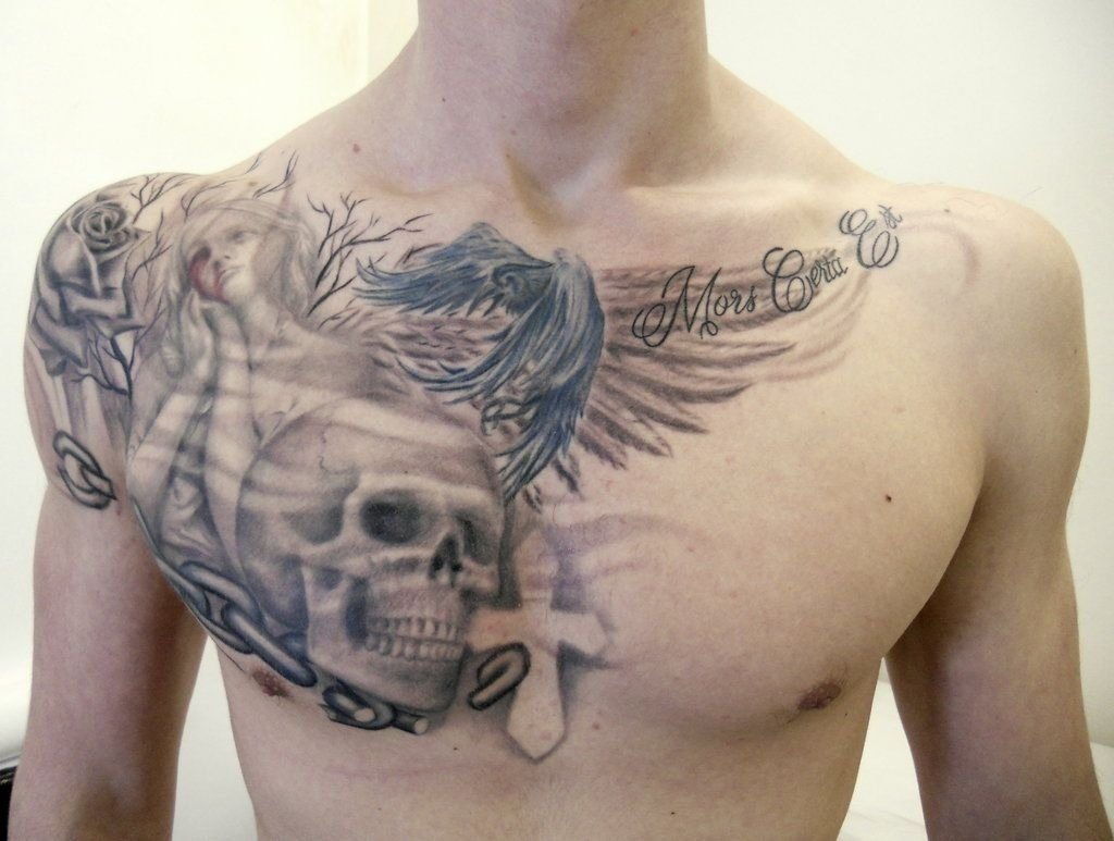 10 Fabulous Chest Piece Tattoo Ideas For Guys chest tattoos for men skull and angels tattoos pinterest chest 2021