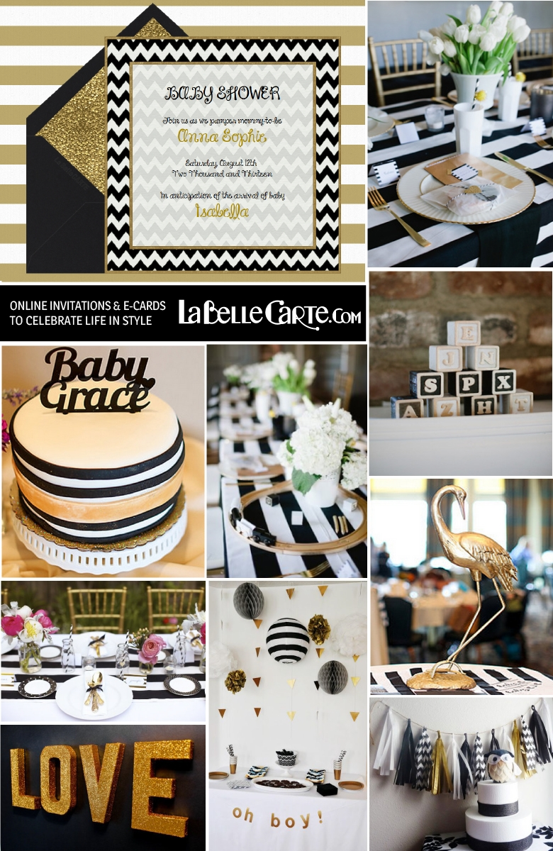 10 Great Black And White Baby Shower Ideas chic baby shower in black white gold online invitations decor 2021