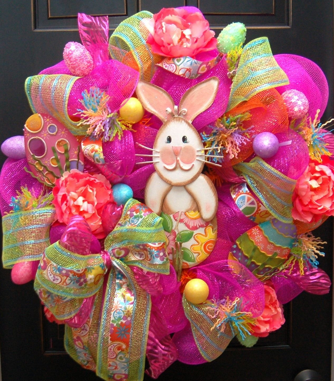 10 Cute Easter Deco Mesh Wreath Ideas chic happy easter bunny wreath deco mesh round top happy easter