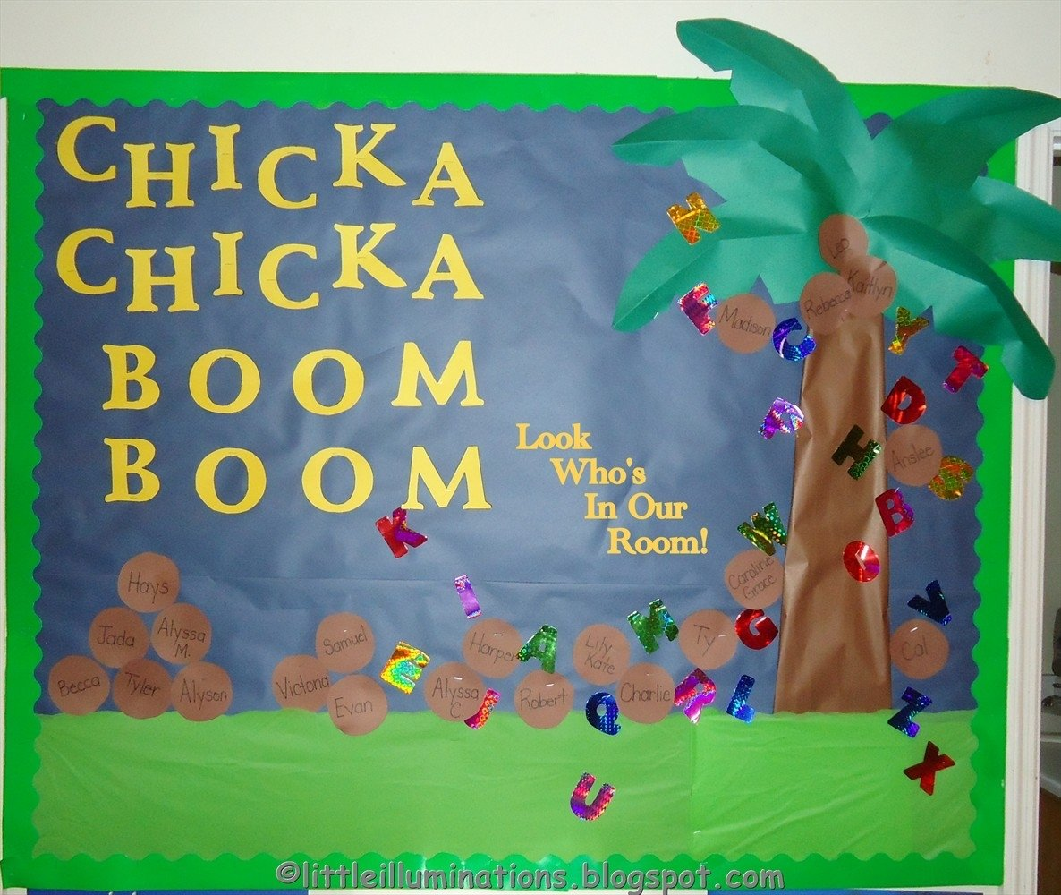 10 Fantastic First Day Of School Bulletin Board Ideas chicka chicka boom boom bulletin board little illuminations back to 2 2020