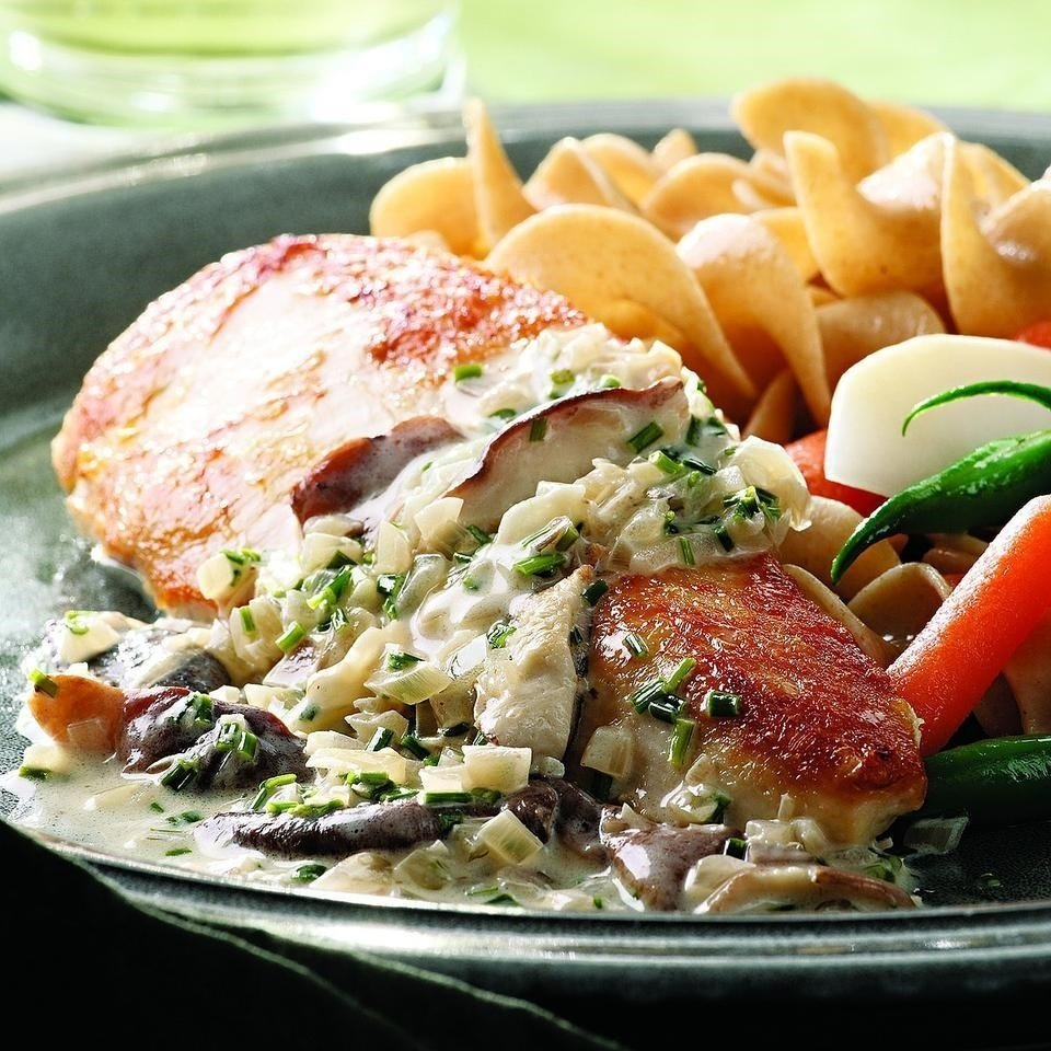chicken breasts with mushroom cream sauce recipe - eatingwell
