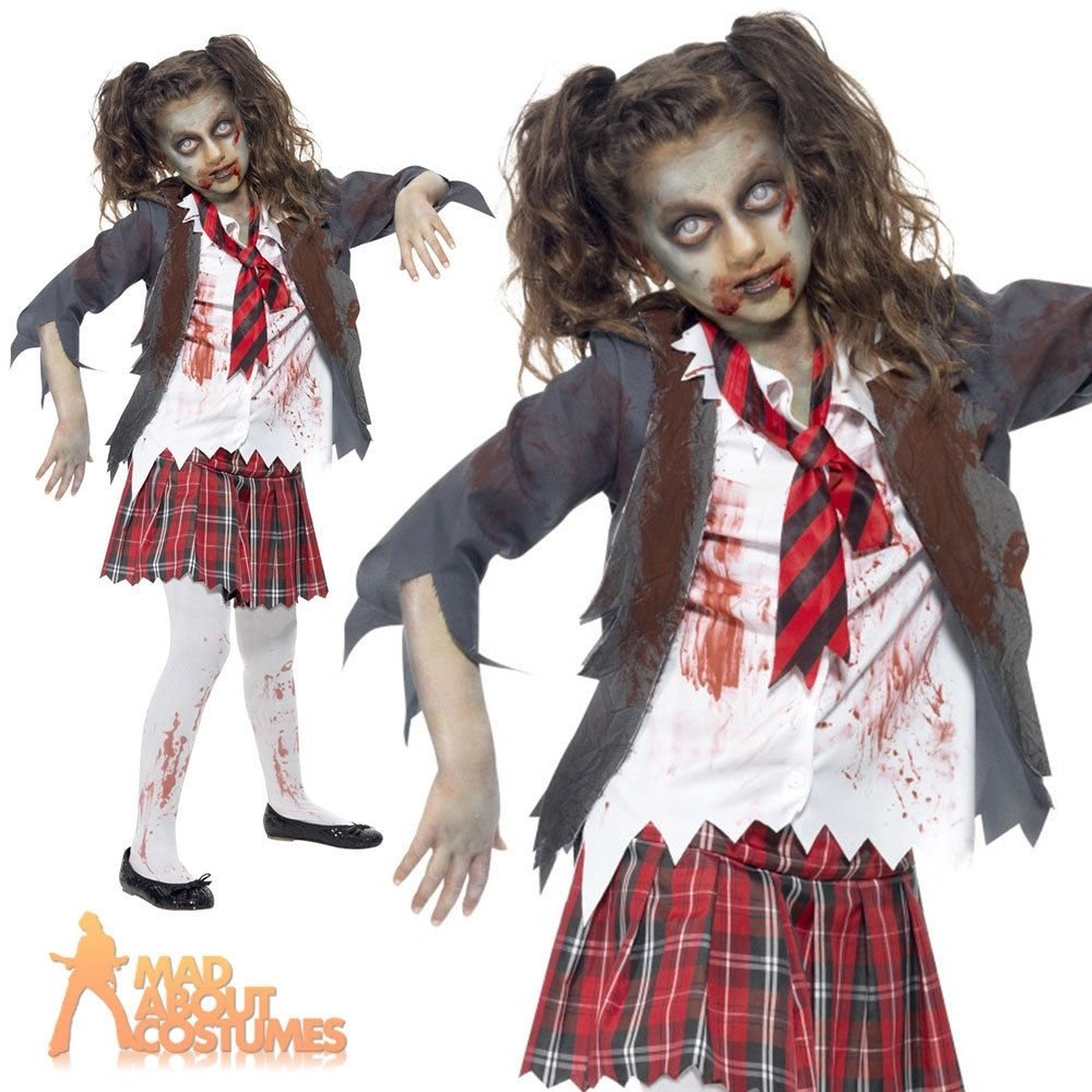10 Amazing Zombie Costume Ideas For Girls child zombie school girl costume girls halloween horror fancy dress