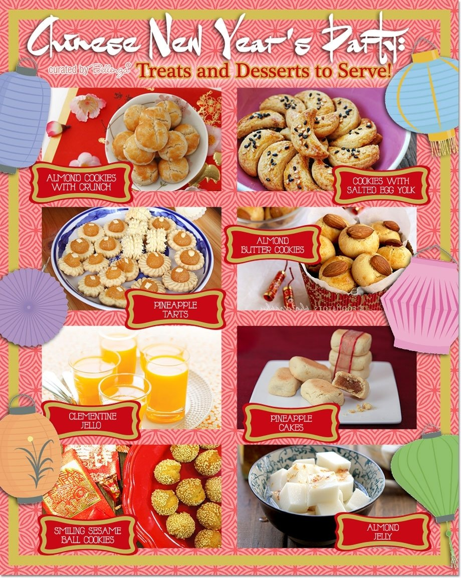 chinese new year's party: treats and desserts to serve!