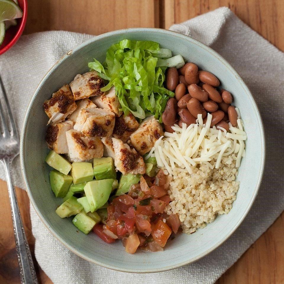 chipotle chicken quinoa burrito bowl recipe - eatingwell