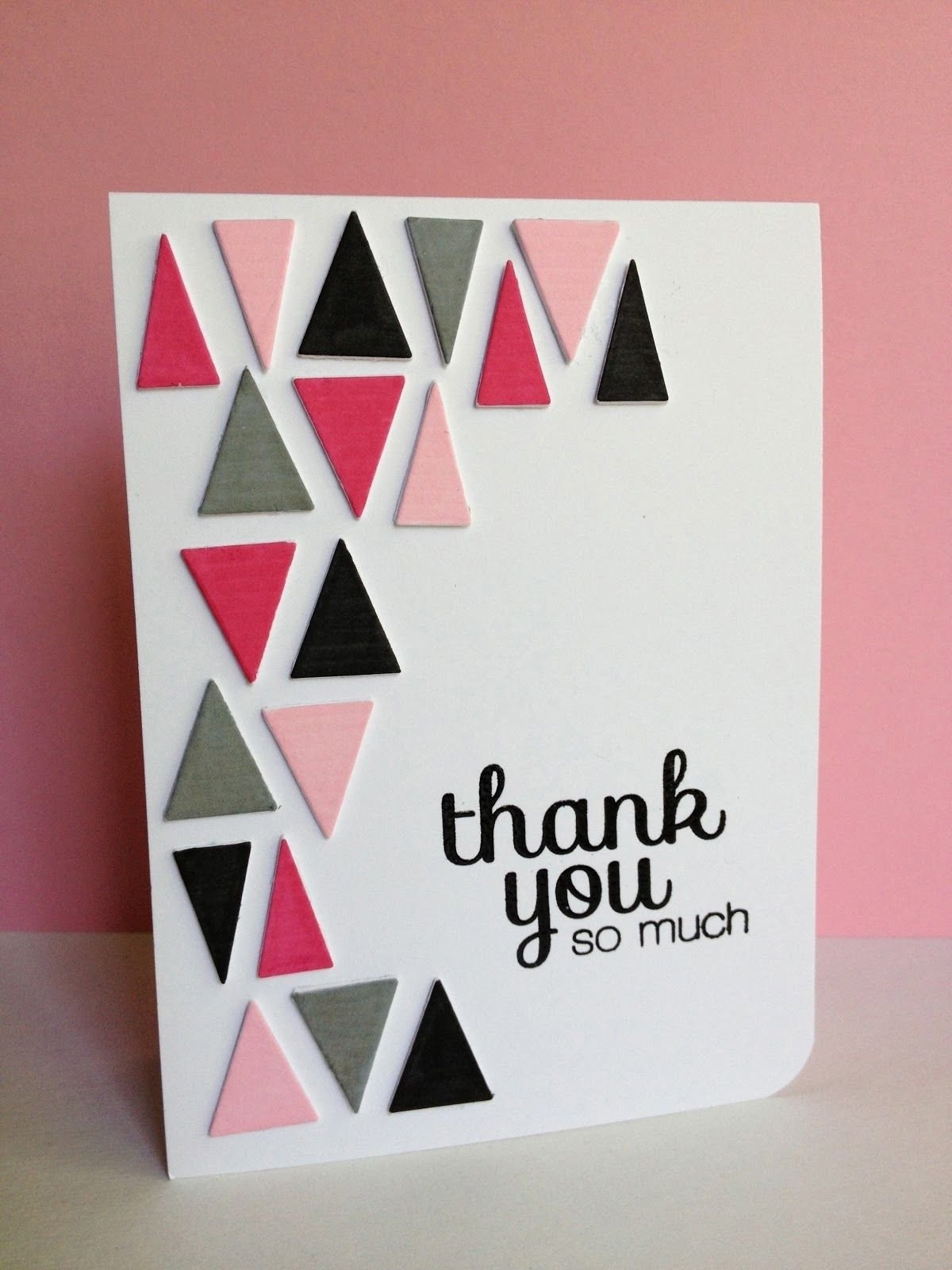 10 Attractive Cute Thank You Card Ideas choose fun colors for the triangles on this handmade thank you card 2020
