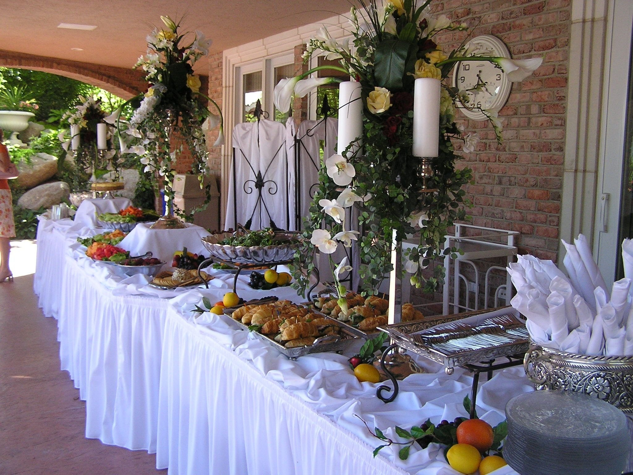 christmas buffet table decorations pictures | white banquet table