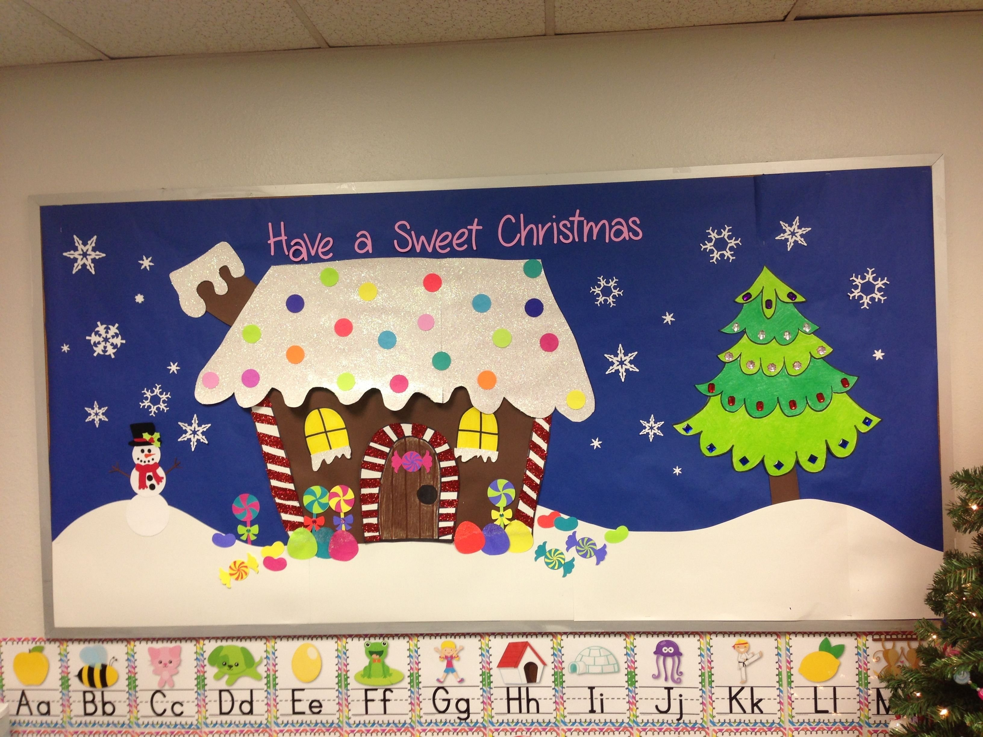 christmas bulletin board, gingerbread house | bulletin boards