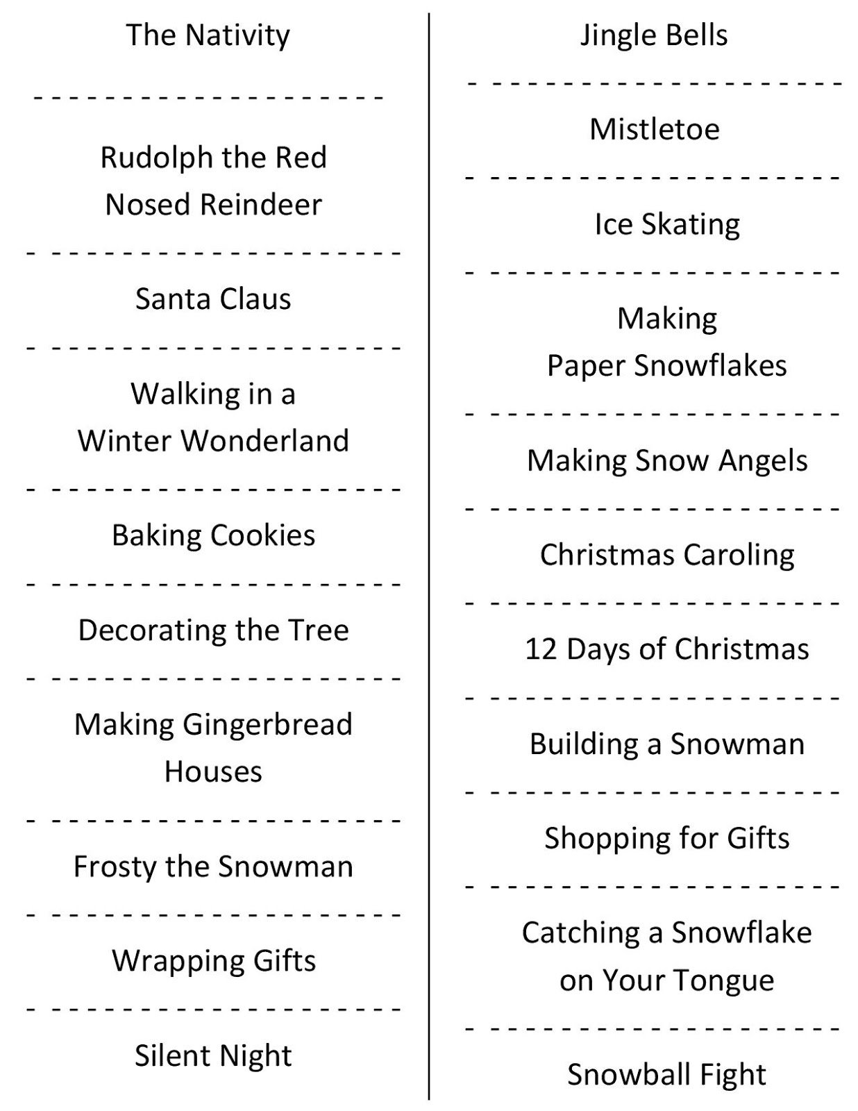 10 Stylish Funny Charades Ideas For Adults christmas charades free printable party game 2