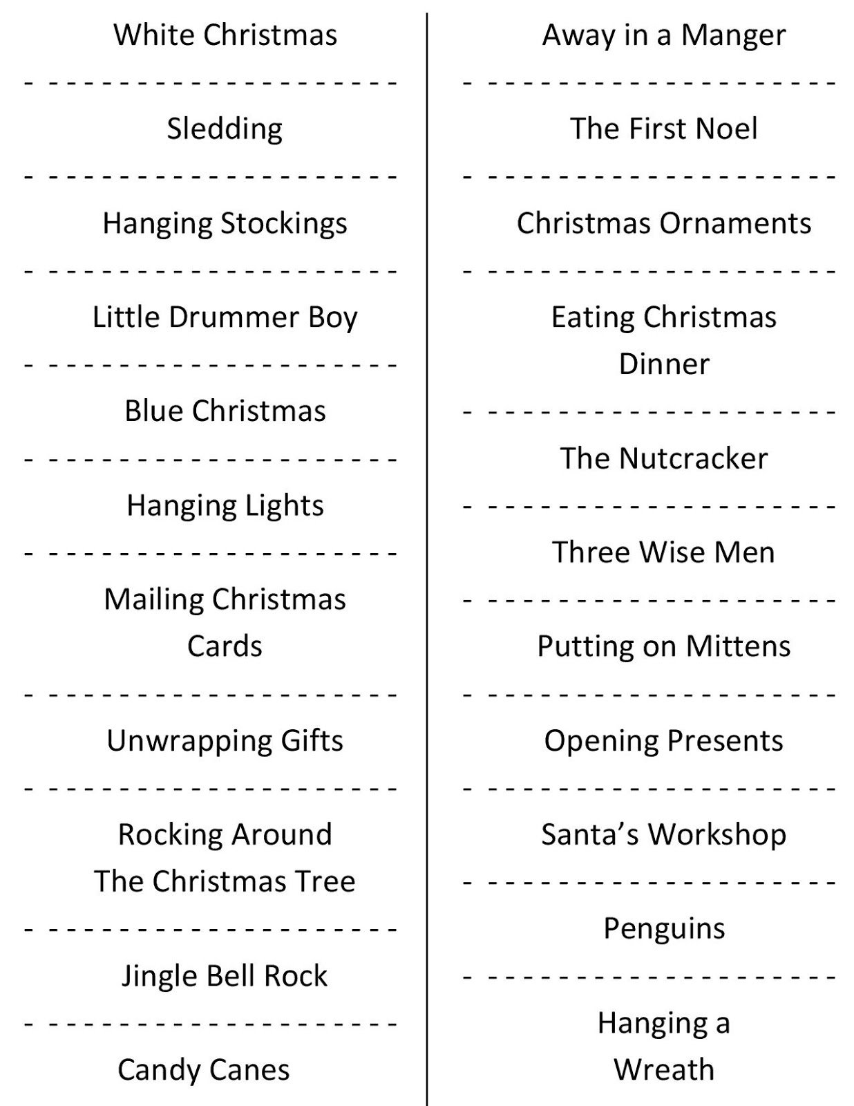 10 Stylish Funny Charades Ideas For Adults christmas charades free printable party game 3
