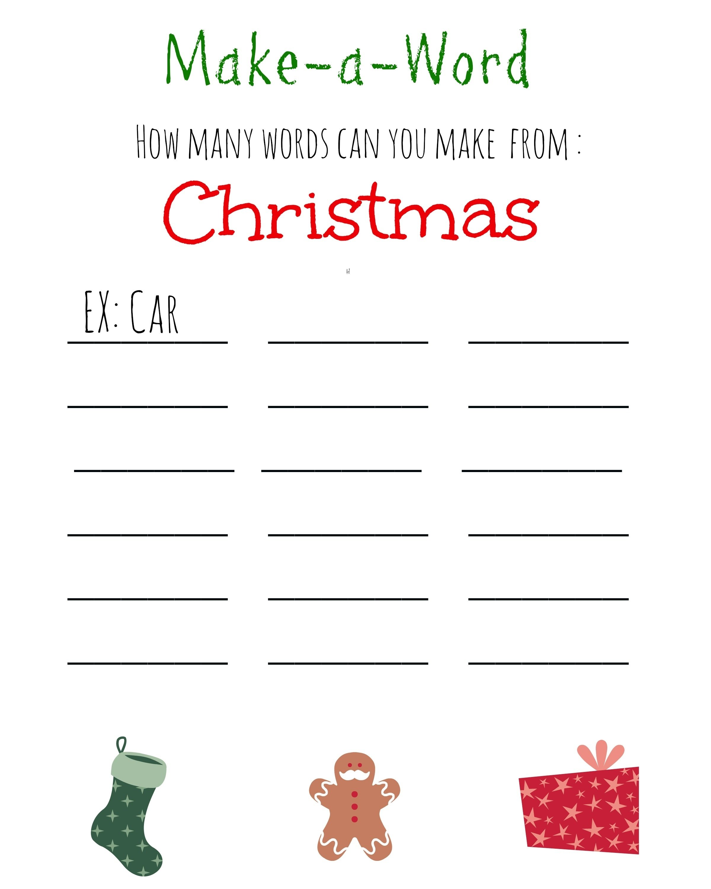 10 Unique Christmas Game Ideas For Kids christmas games for kids free printable christmas make a word 1