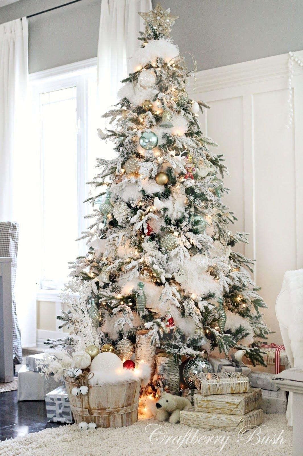 10 Elegant Flocked Christmas Tree Decorating Ideas christmas inspiration holiday countdown update beautiful