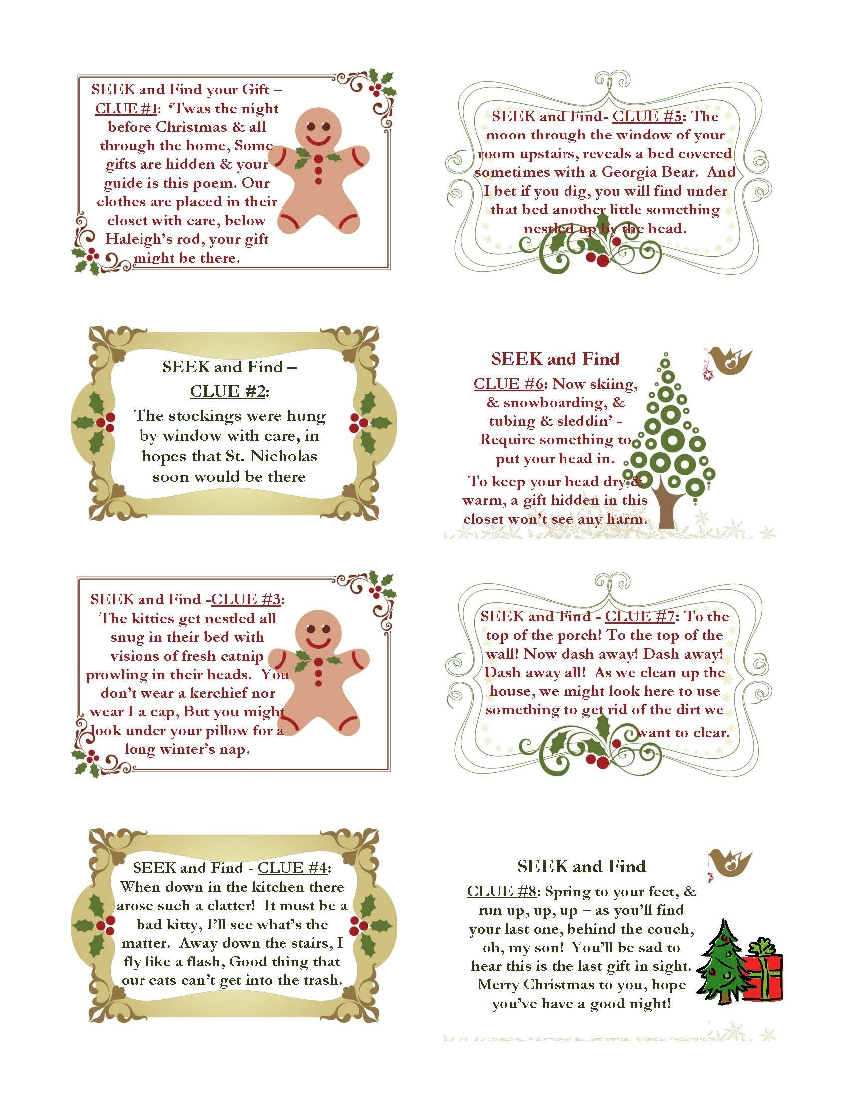 10 Fashionable Christmas Scavenger Hunt Ideas For Adults christmas present scavenger hunt clues christmas cards 2020