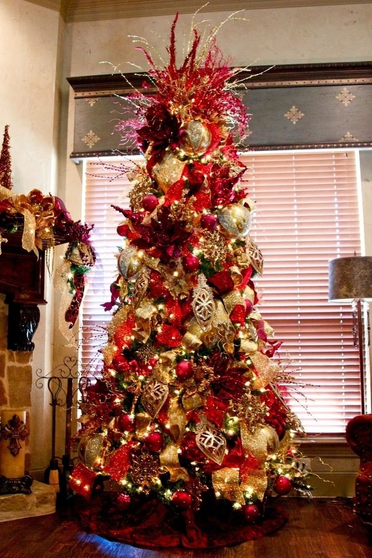 10 Amazing Red And Gold Christmas Tree Decorating Ideas christmas red plaid christmas tree skirt black white decorations 2021