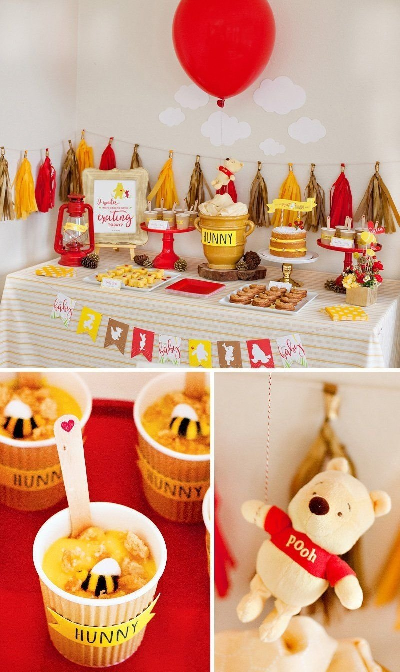10 Stunning Winnie The Pooh Baby Shower Ideas classic modern winnie the pooh baby shower dessert table babies 2021