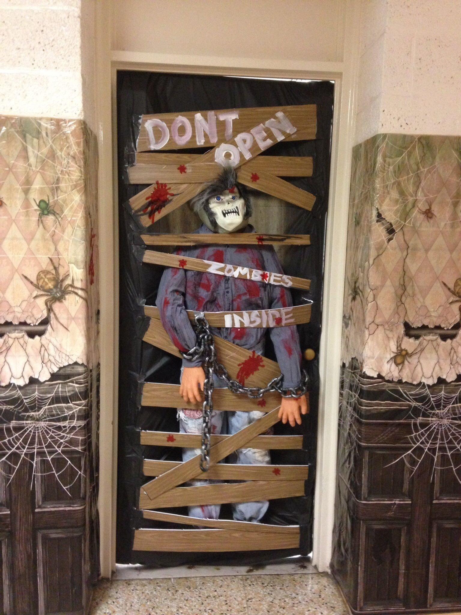 classroom halloween door decorating contest. zombies! | ideas for