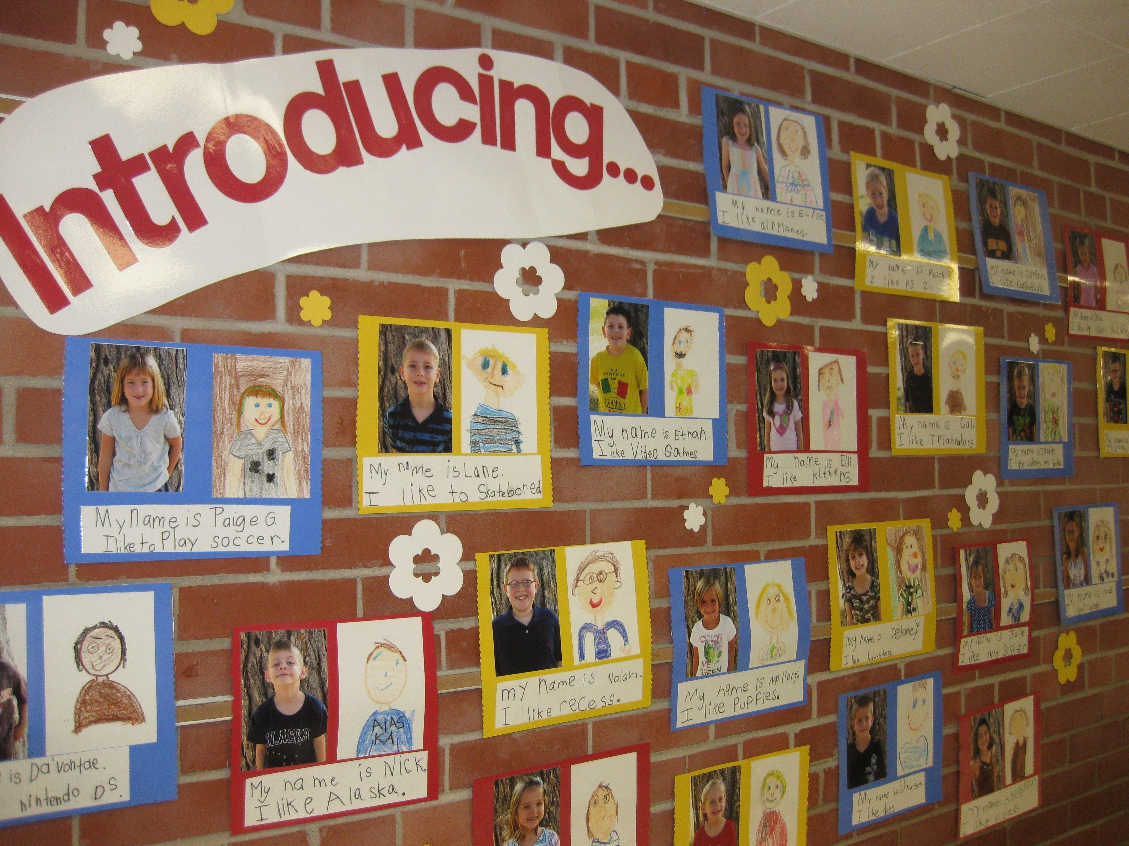 10 Wonderful Beginning Of The Year Bulletin Board Ideas classroom snapshots children drawing bulletin board and portraits 2020