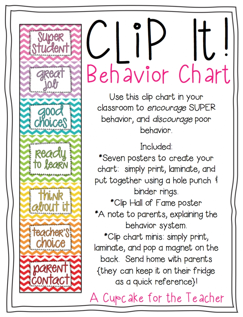 10 Attractive Behavior Chart Ideas For Home clip it behavior chart a cupcake for the teacher 2020