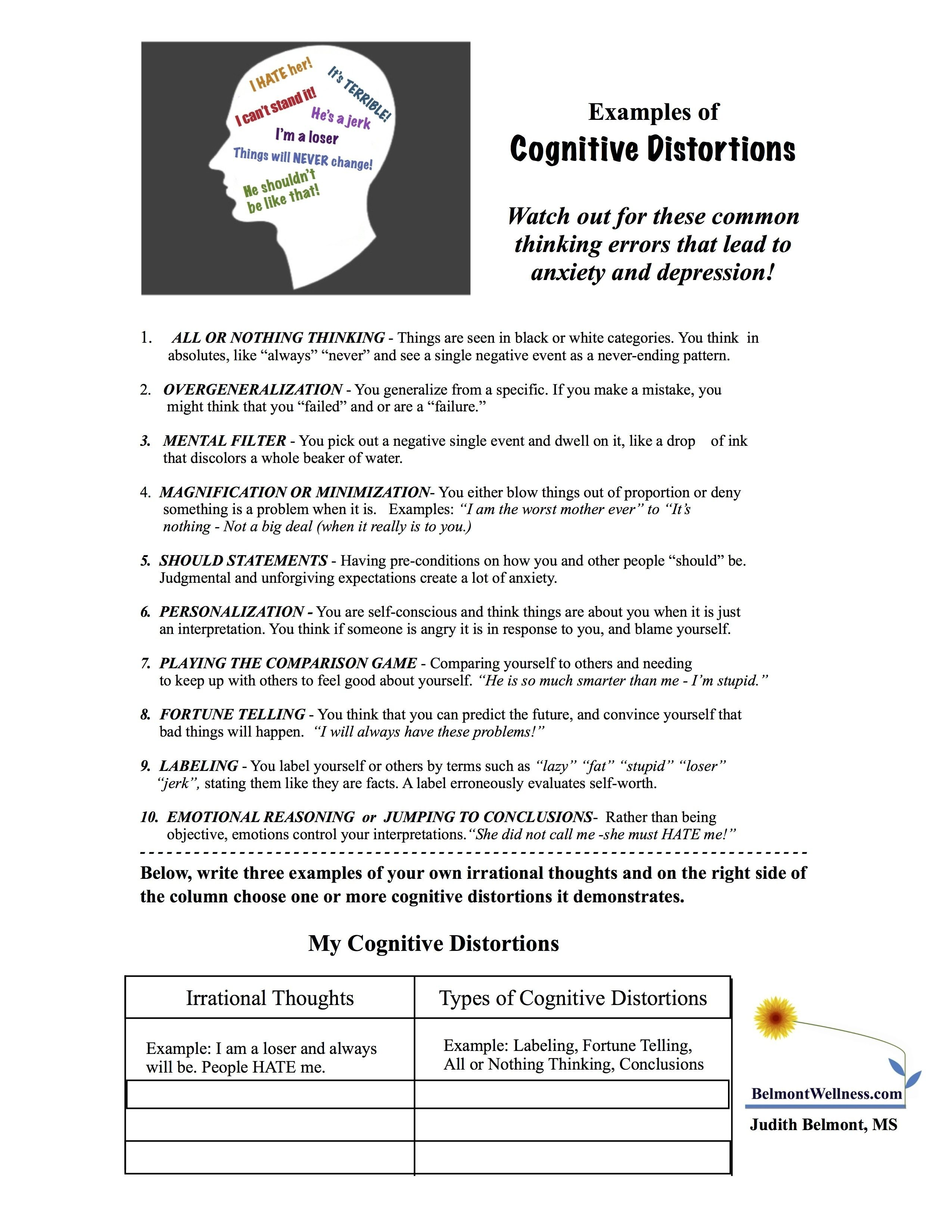 10 Unique Group Ideas For Mental Health cognitive distortions 2550x3300 therapy worksheets 1 2020