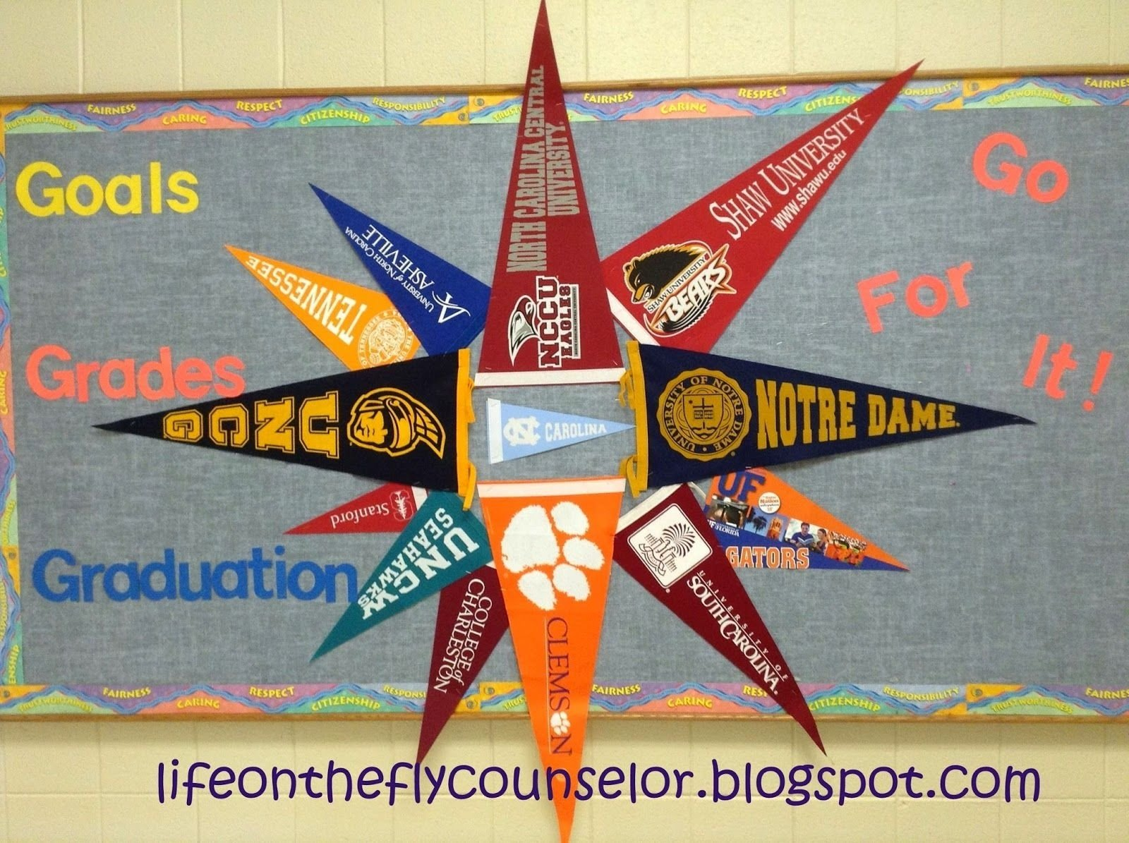 10 Cute Bulletin Board Ideas High School college pennant pinwheel bulletin board life on the fly a school 2020