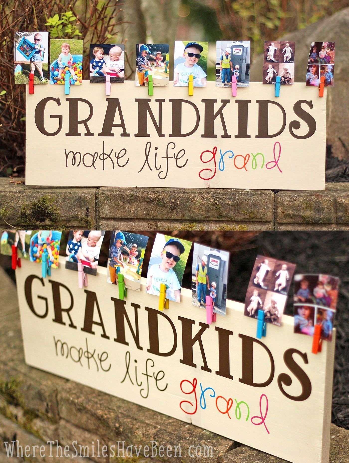 10 Most Recommended Holiday Gift Ideas For Grandparents colorful grandkids make life grand wood sign photo display 2 2021