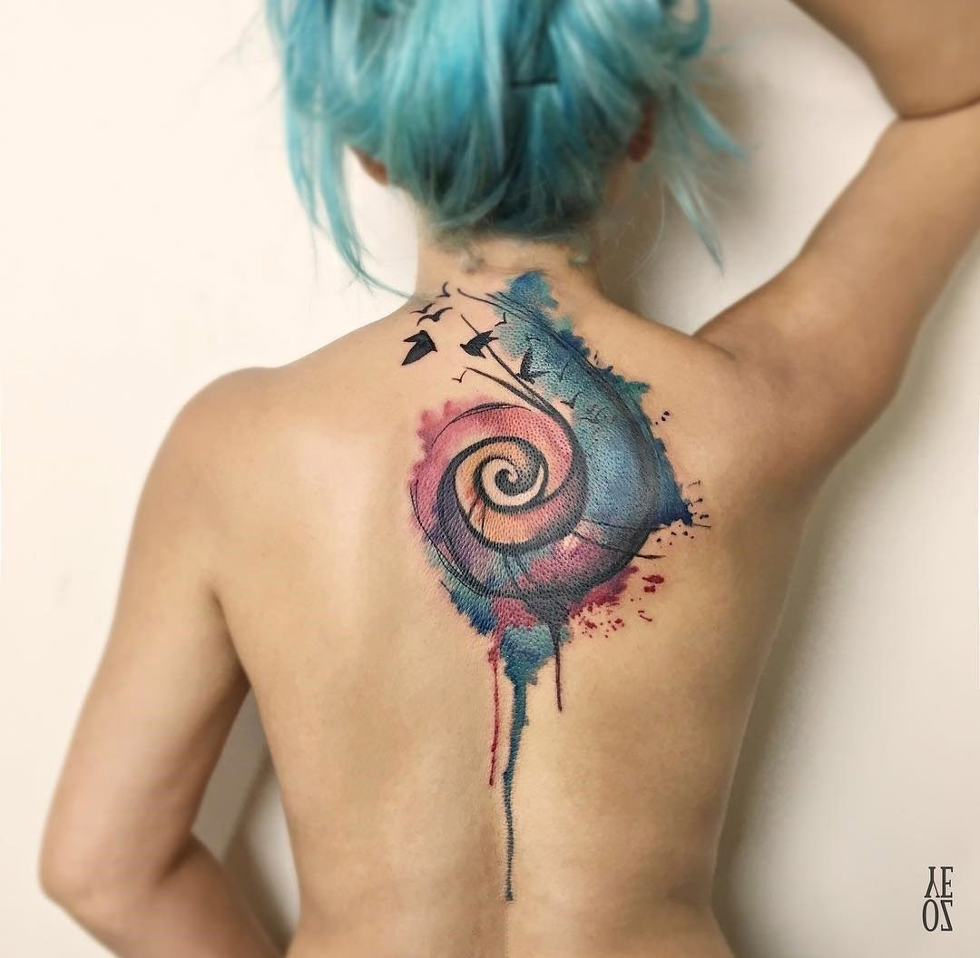 10 Cute Back Tattoo Cover Up Ideas colorful spiral back piece with birds best tattoo design ideas 1 2020