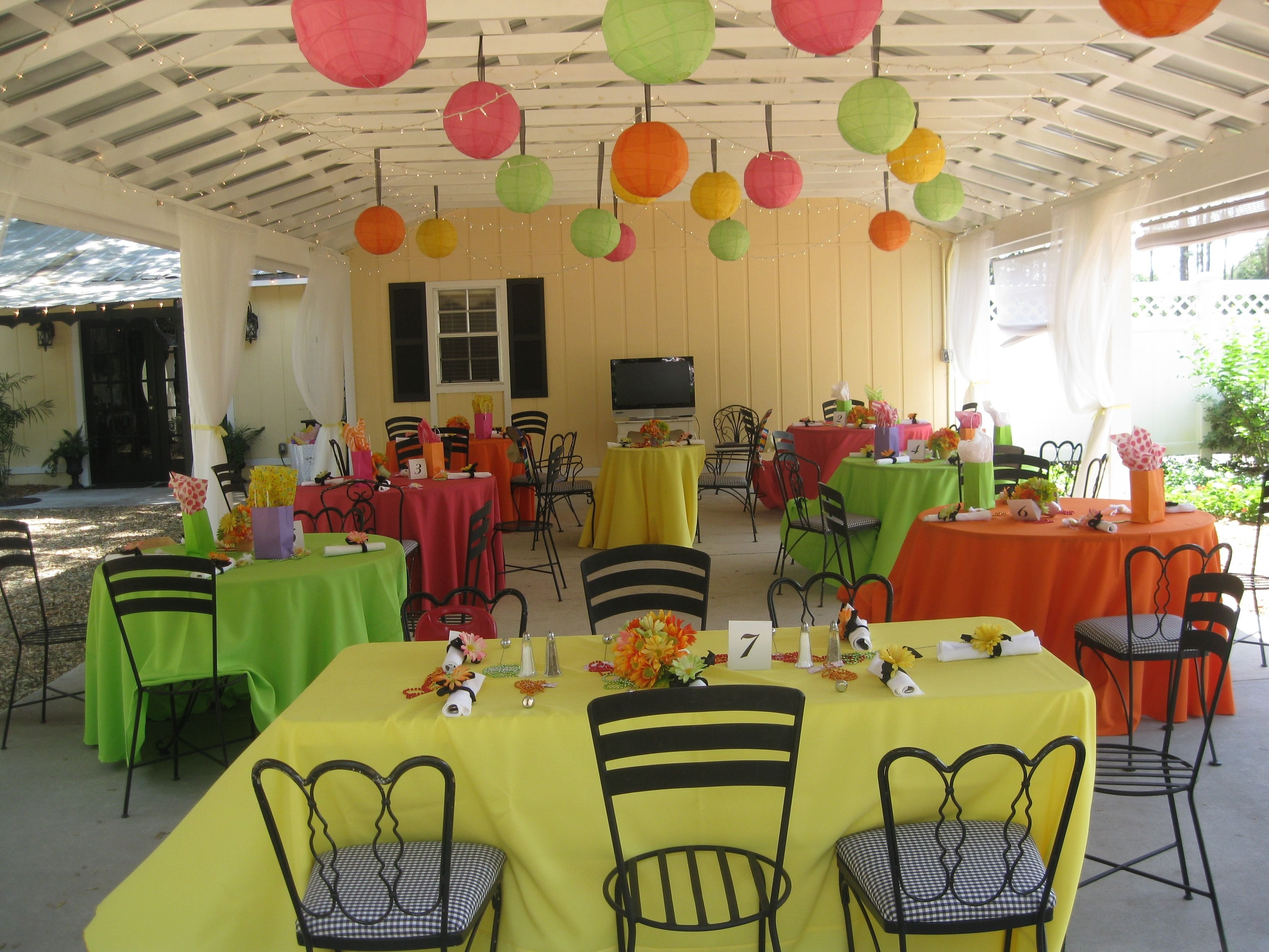 10 Stunning Sweet Sixteen Ideas No Party colorful tablecloths no overlay mexican themed fiesta sweet 16 2021