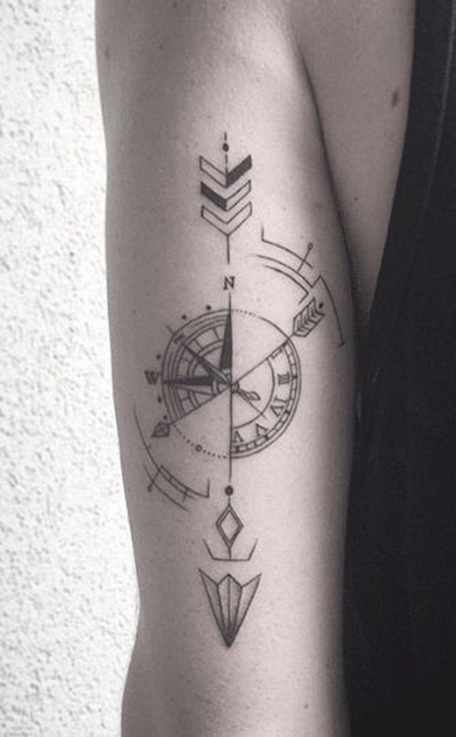 10 Beautiful Back Of Arm Tattoo Ideas compass arrow back of arm forearm tattoo ideas at