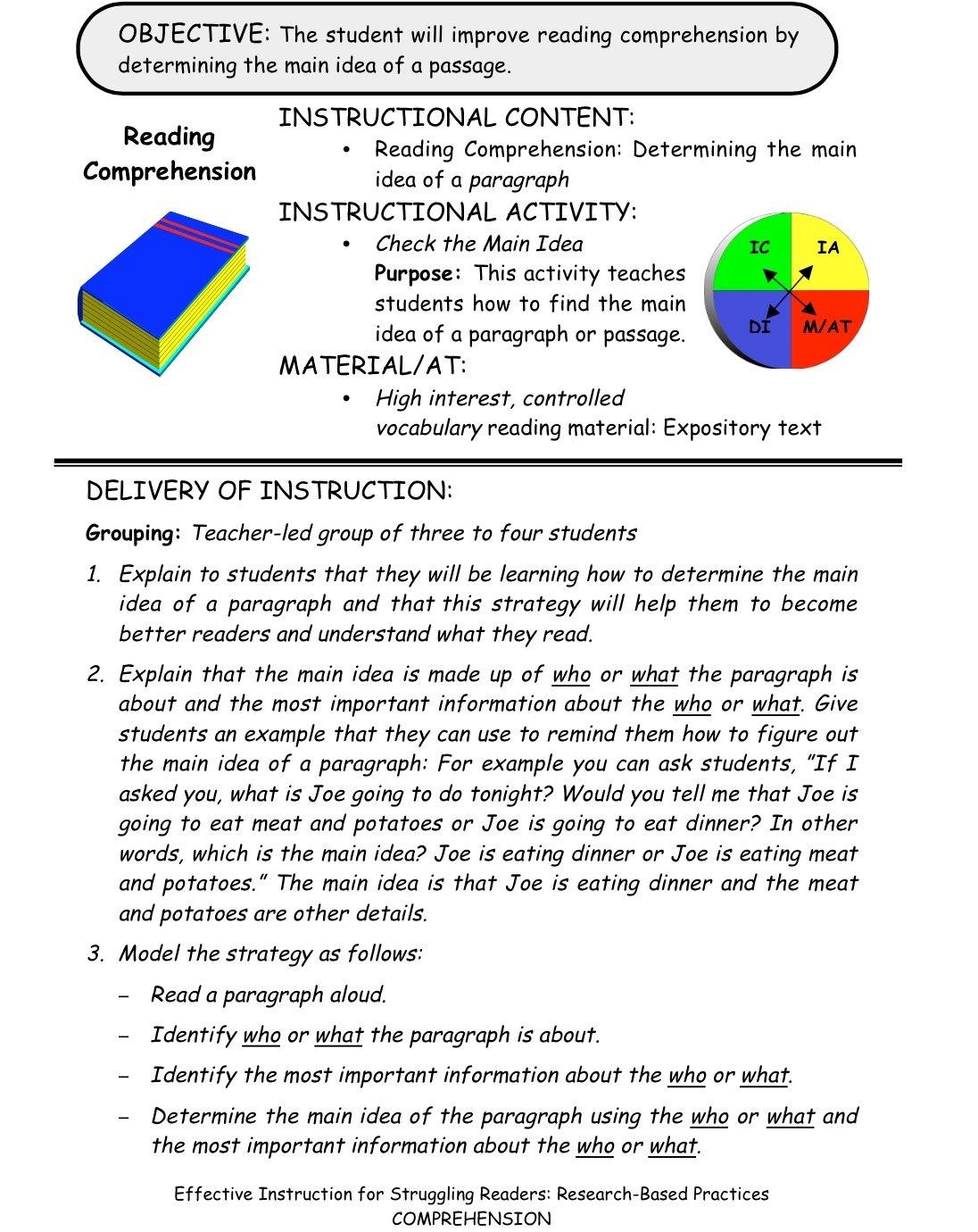 10 Fashionable How To Find Main Idea comprehension check the main idea building rti 1