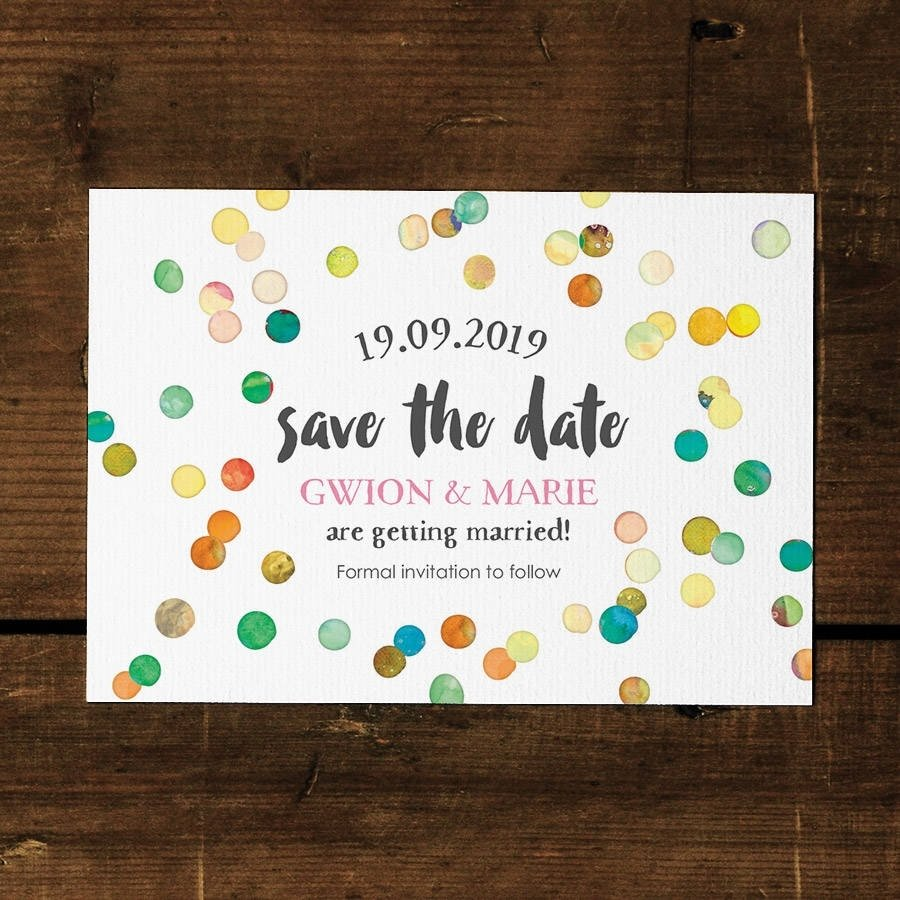 10 Attractive Save The Date Card Ideas confetti swirl save the date card or fridge magnetfeel good