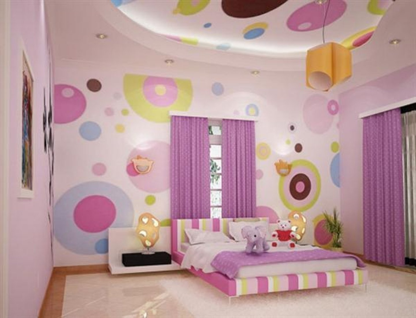 10 Lovable Paint Ideas For Girls Bedroom cool colorful square pattern wall colors theme girls bedroom 1