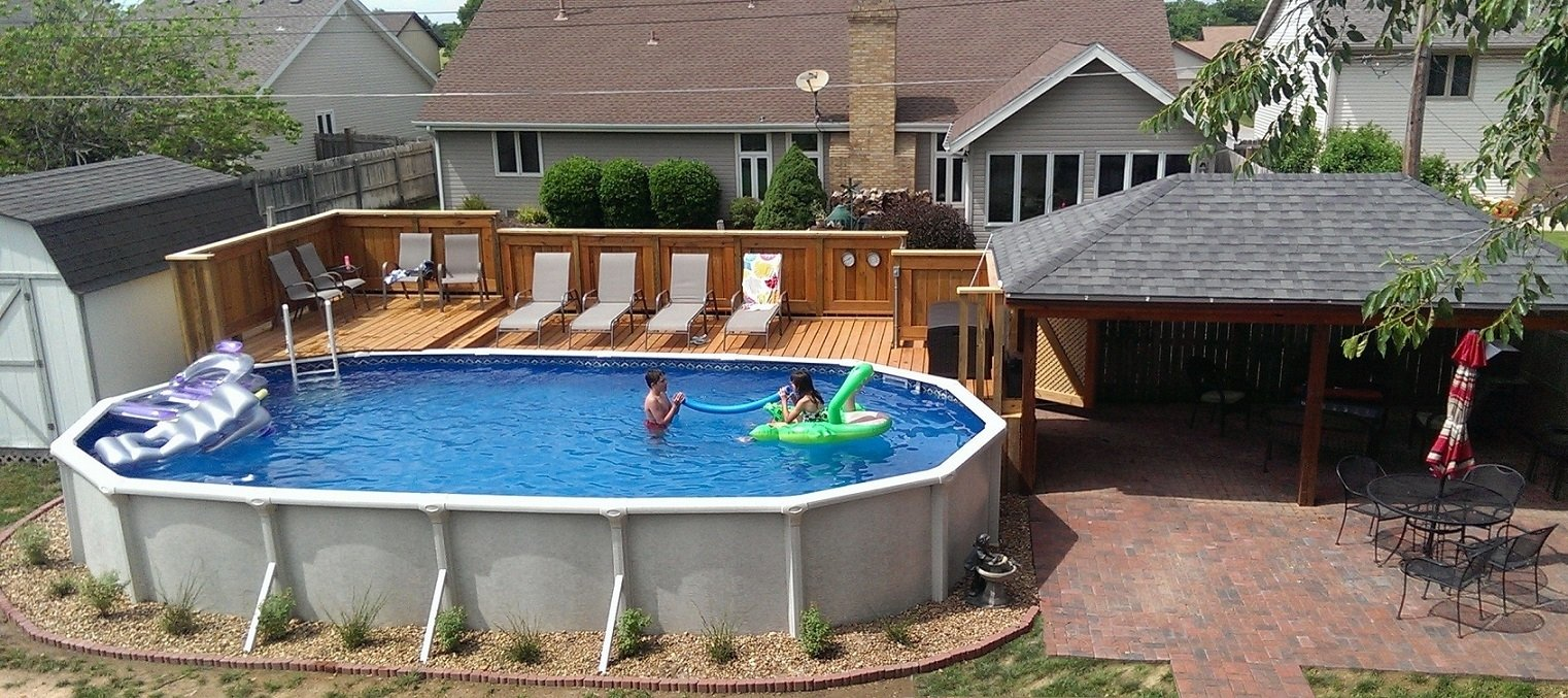 10 Unique In Ground Pool Deck Ideas cool oval above ground pool deck ideas homestylediary 2020