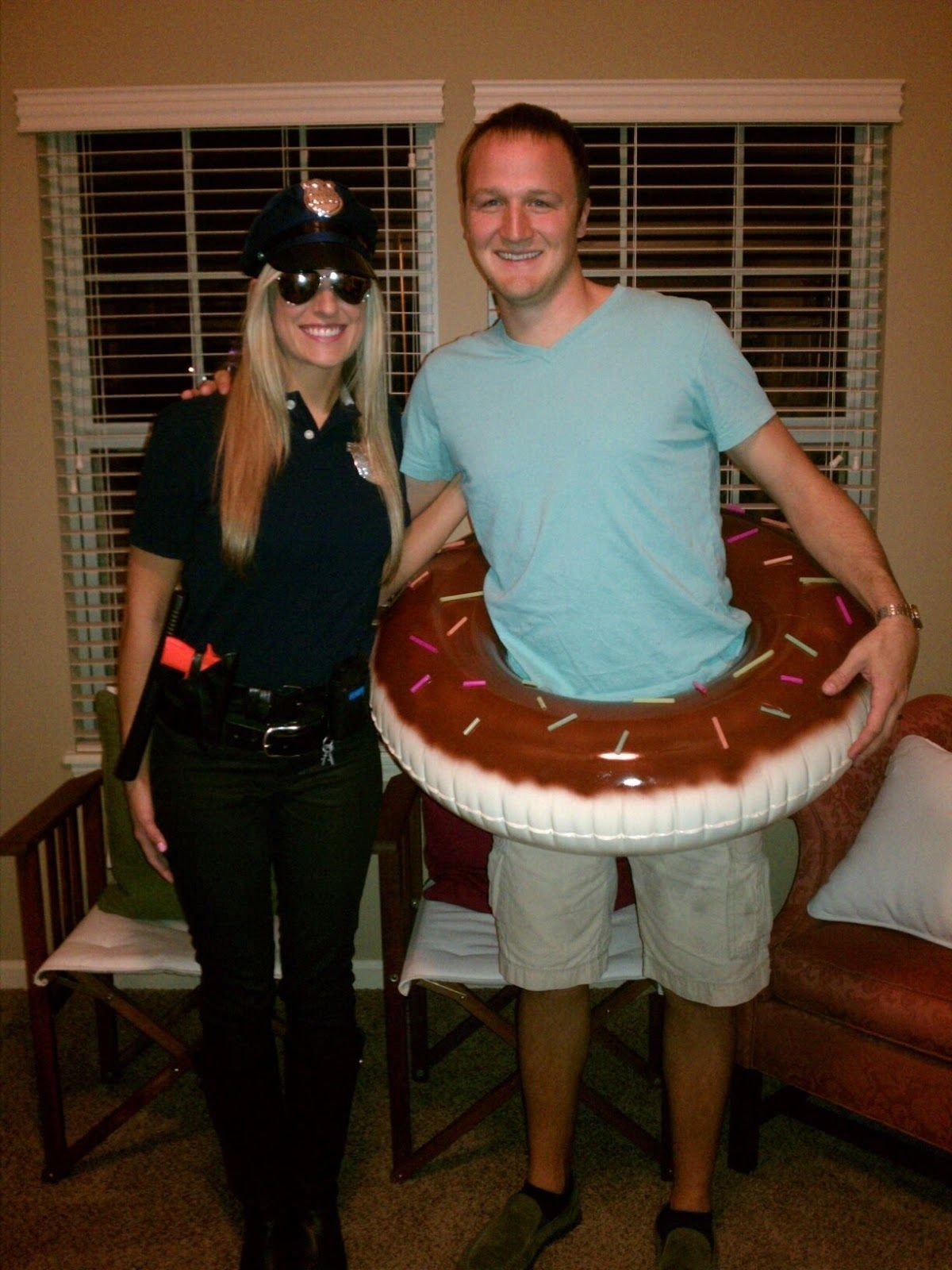 cop and donut. tired of the sexy policewoman costume? bring a whole