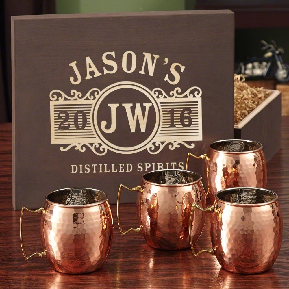 10 Stylish Copper Gift Ideas For Him copper mug set with custom wooden gift box