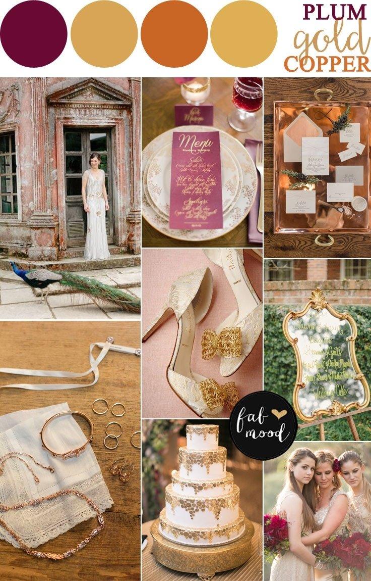 10 Stylish Vintage Wedding Ideas For Fall copper plum antique gold autumn wedding vintage inspired 2020