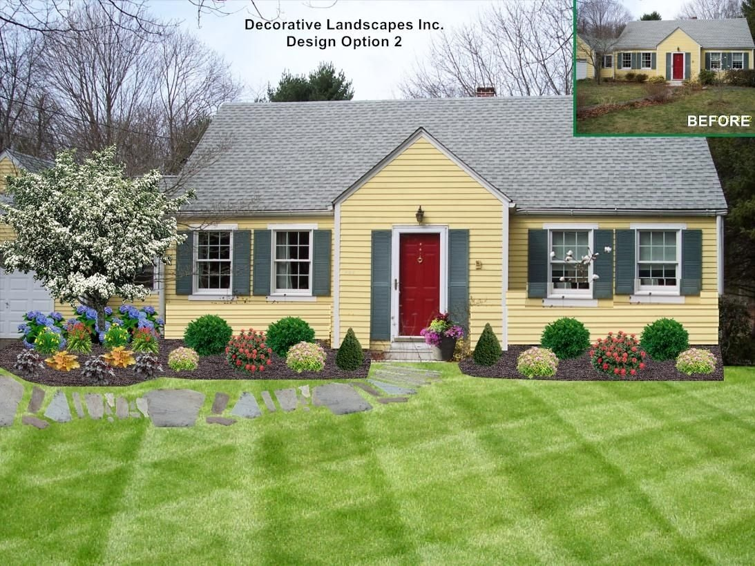 10 Spectacular Front Yard Landscaping Ideas For Small Homes cottage style landscape on ranch style home dighton ma front of 3 2021